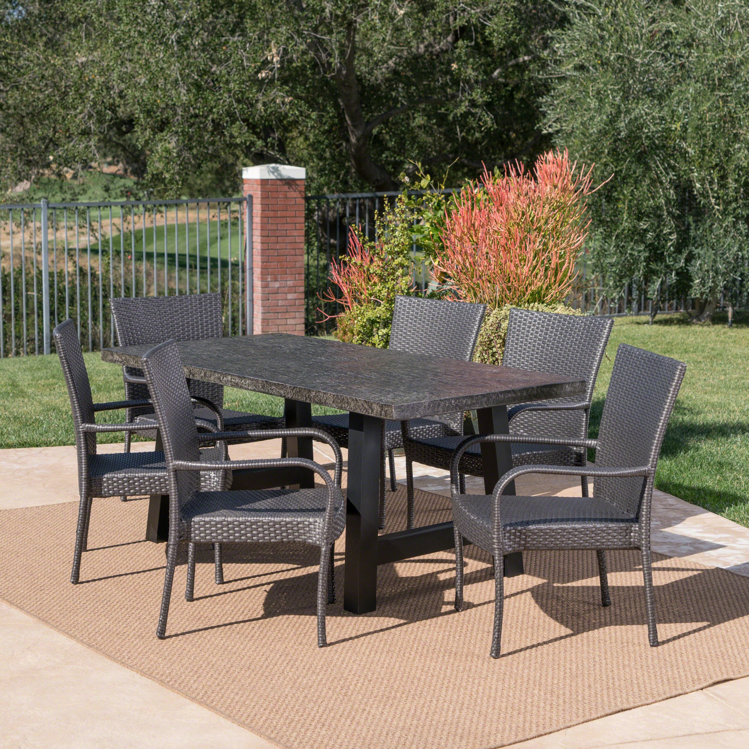 Charmant Shop Pelican Outdoor 7 Piece Rectangle Light Weight Concrete Wicker Dining  Set By Christopher Knight Home   Free Shipping Today   Overstock.com    20301169