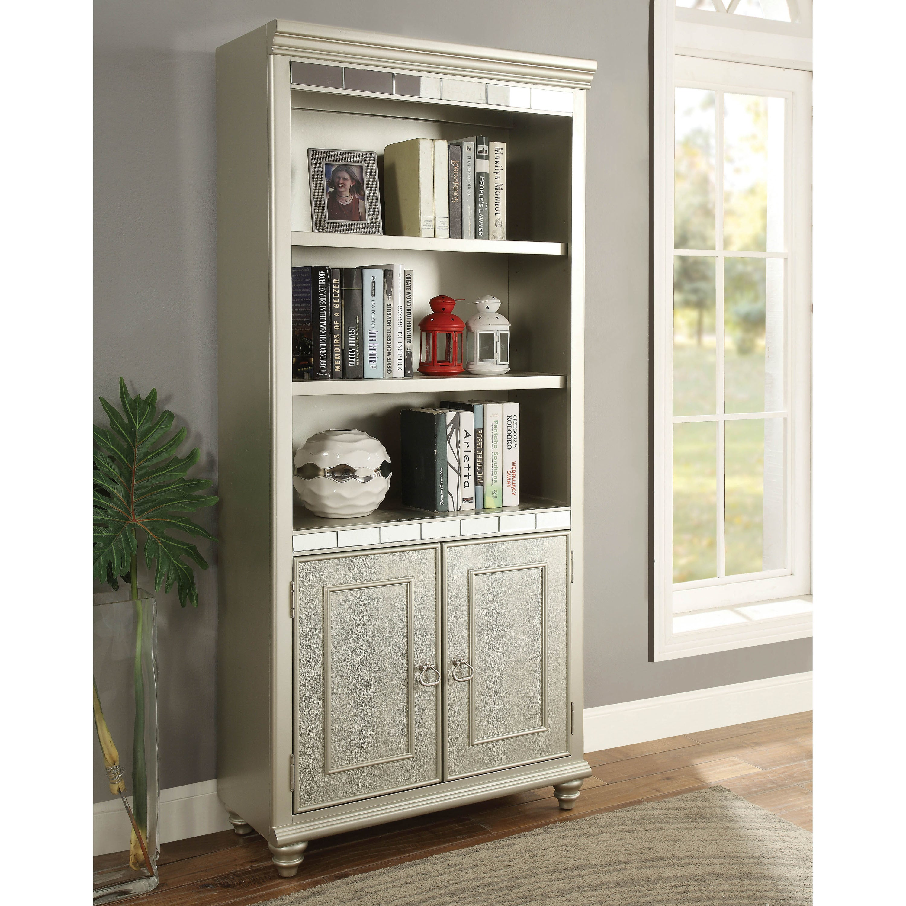 Furniture Of America Jacob Transitional Glam Silver Home Office Bookcase On Free Shipping Today 20301745