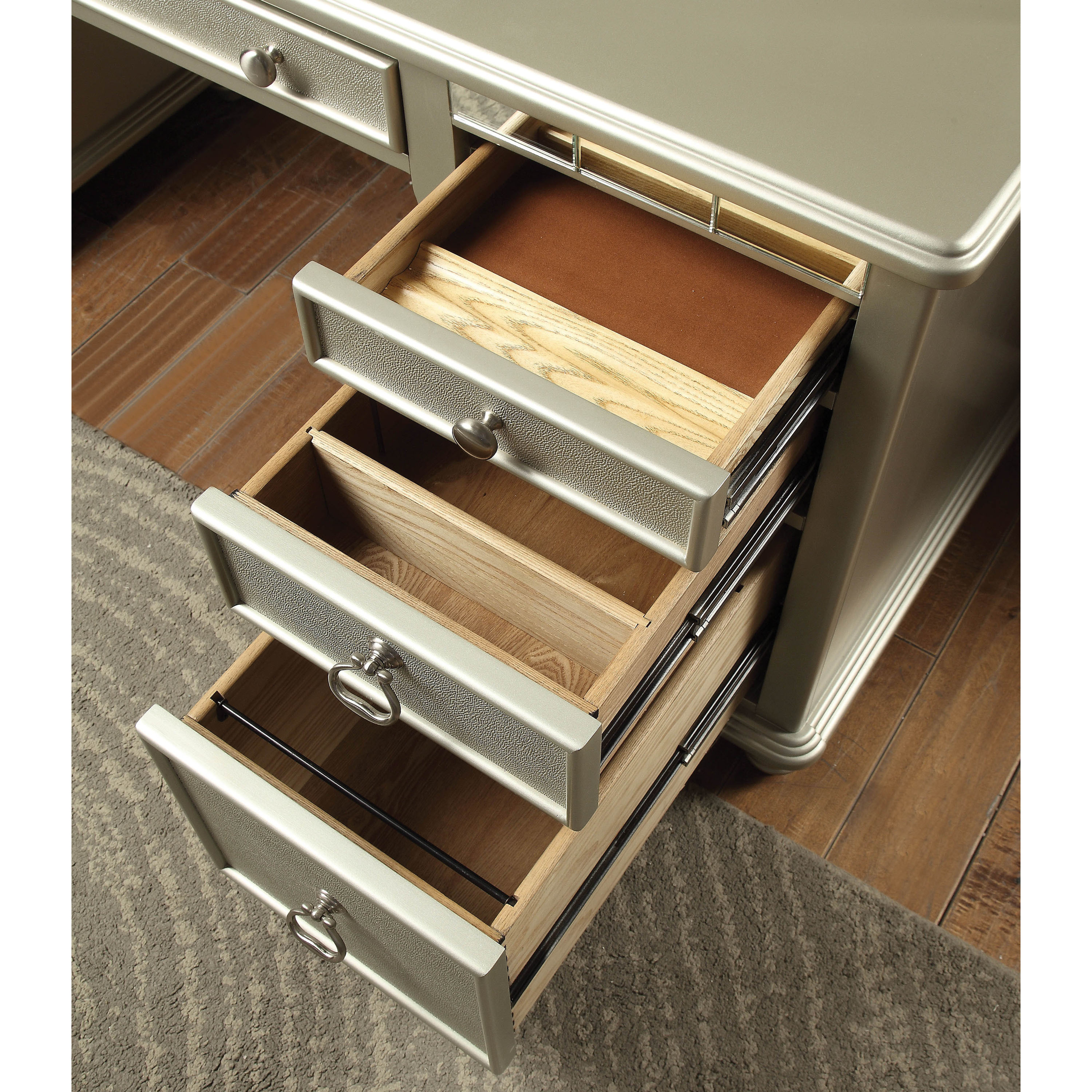Shop Furniture Of America Jacob Transitional Glam Silver Home Office Desk    On Sale   Free Shipping Today   Overstock.com   20302143