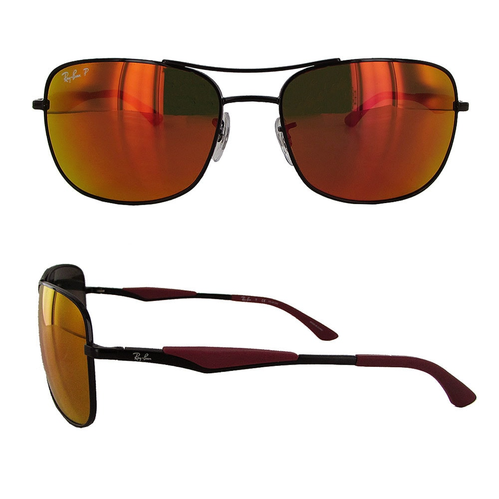 f4b9883337 Shop Ray Ban RB3515 Mens Black Frame Orange Flash Lens Polarized Square  Sunglasses - Free Shipping Today - Overstock - 20303050