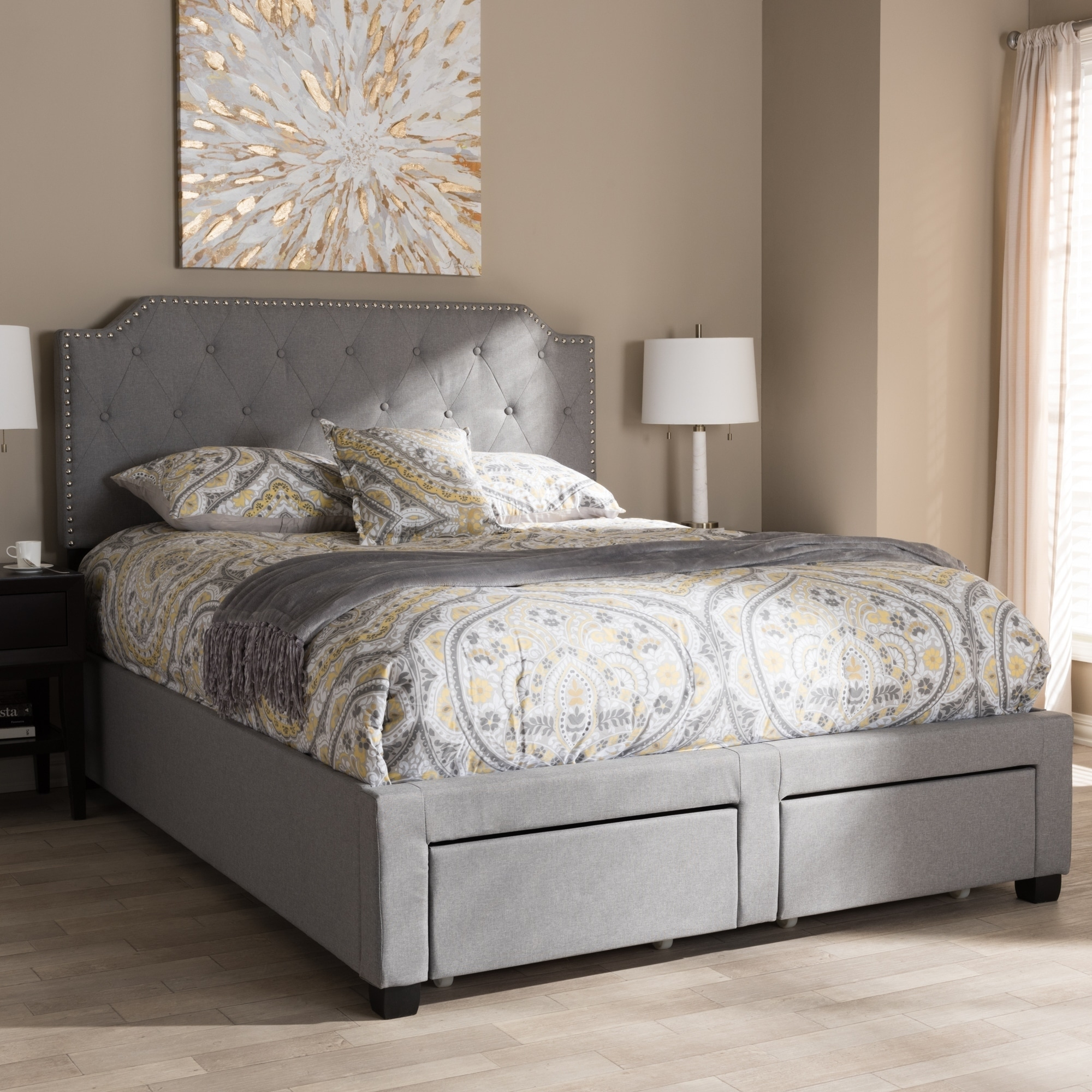 Shop Contemporary Grey Fabric Storage Bed by Baxton Studio - Free Shipping Today - Overstock.com - 20303059 & Shop Contemporary Grey Fabric Storage Bed by Baxton Studio - Free ...
