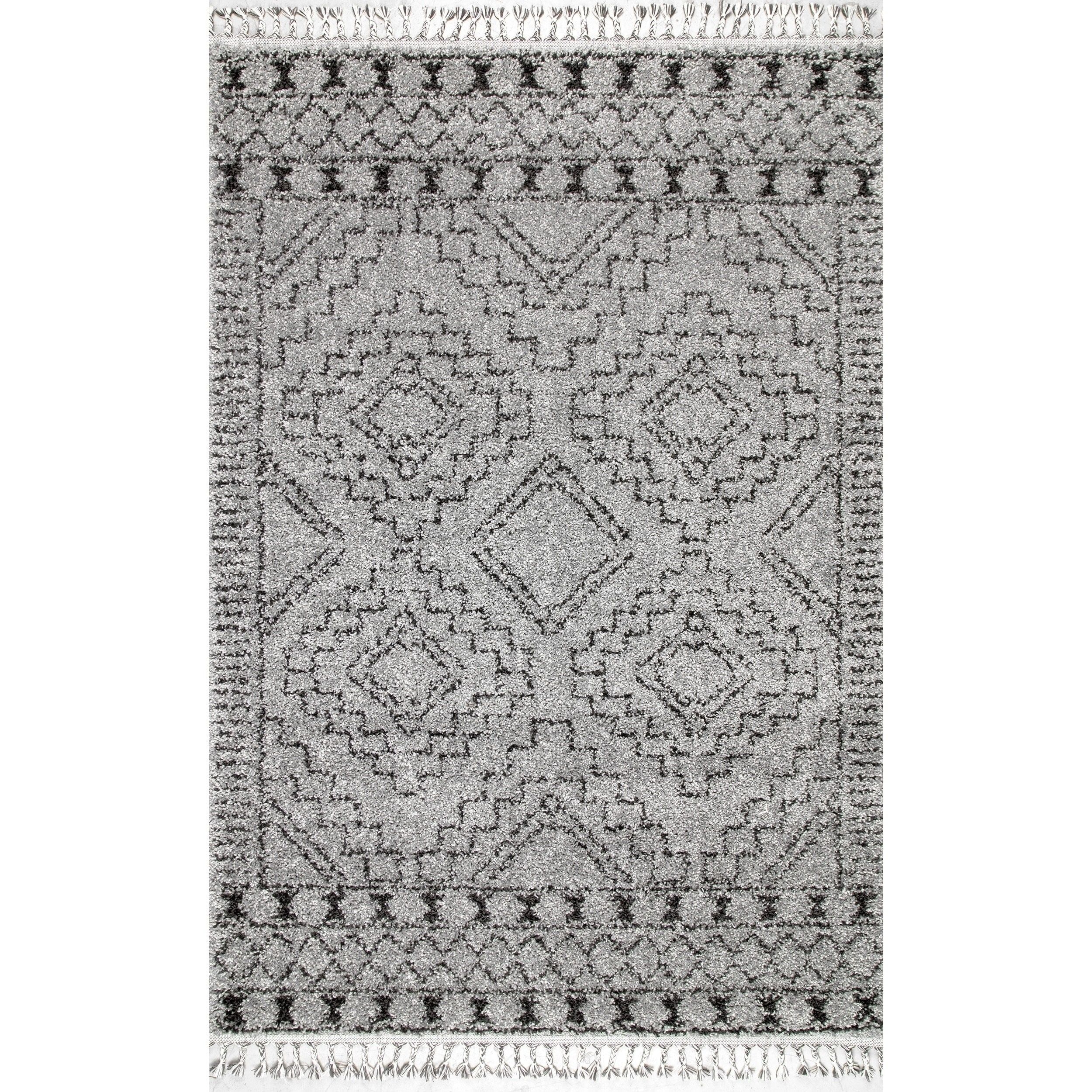 Shop nuloom soft and plush geometric moroccan shag tassel area rug on sale free shipping today overstock 20303547