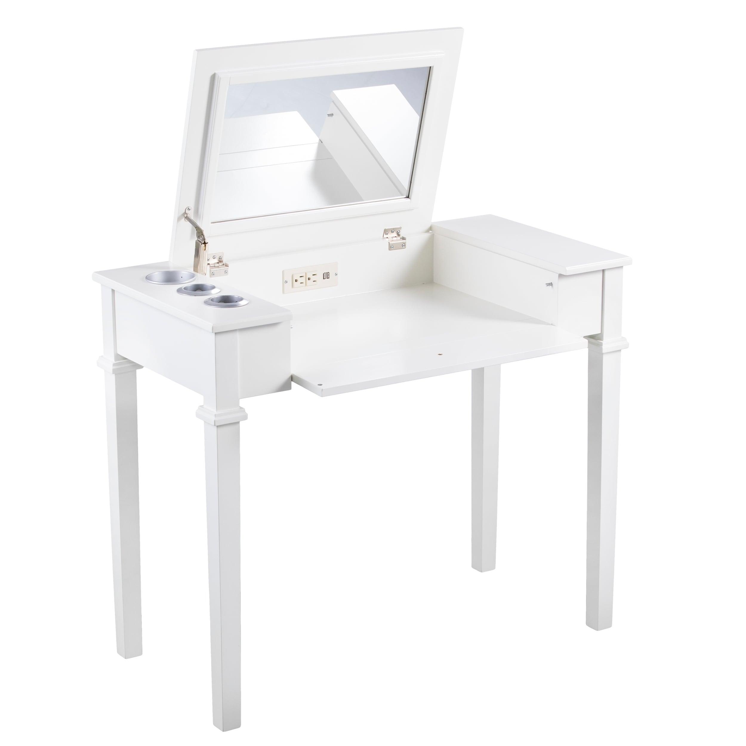 off white vanity table. Harper Blvd Rovelto Off White Powered Vanity Desk W  Stool Free Shipping Today Overstock 26181297