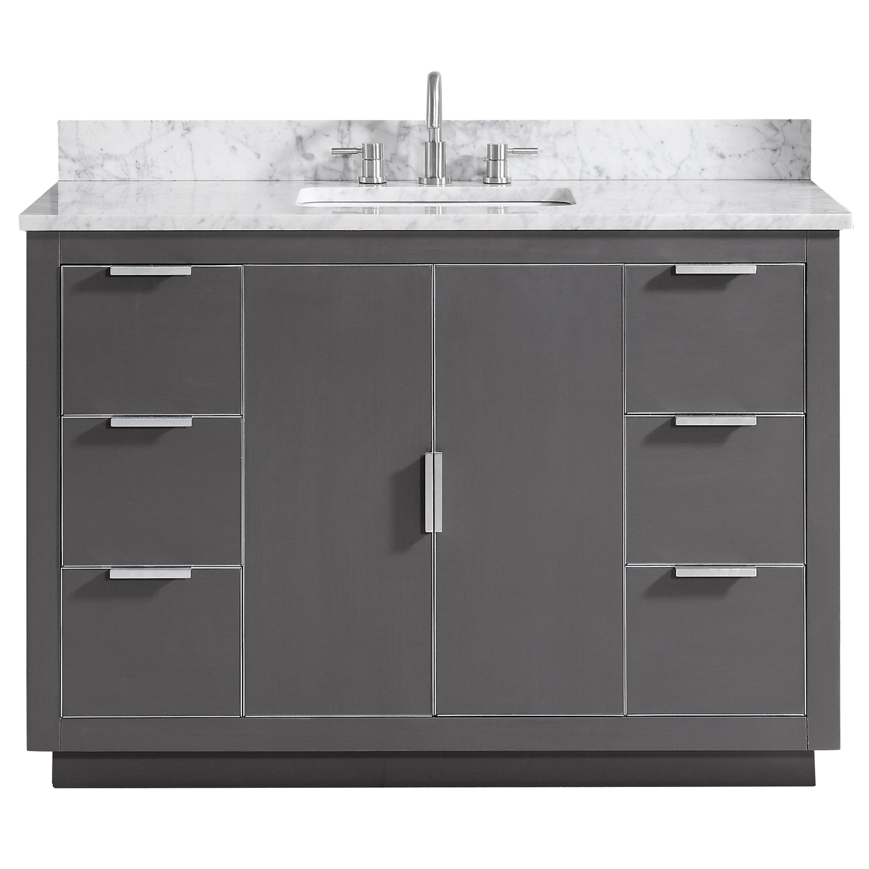 Shop Avanity Austen 49 In. Vanity Combo In Twilight Gray With Silver Trim    Free Shipping Today   Overstock.com   20306076