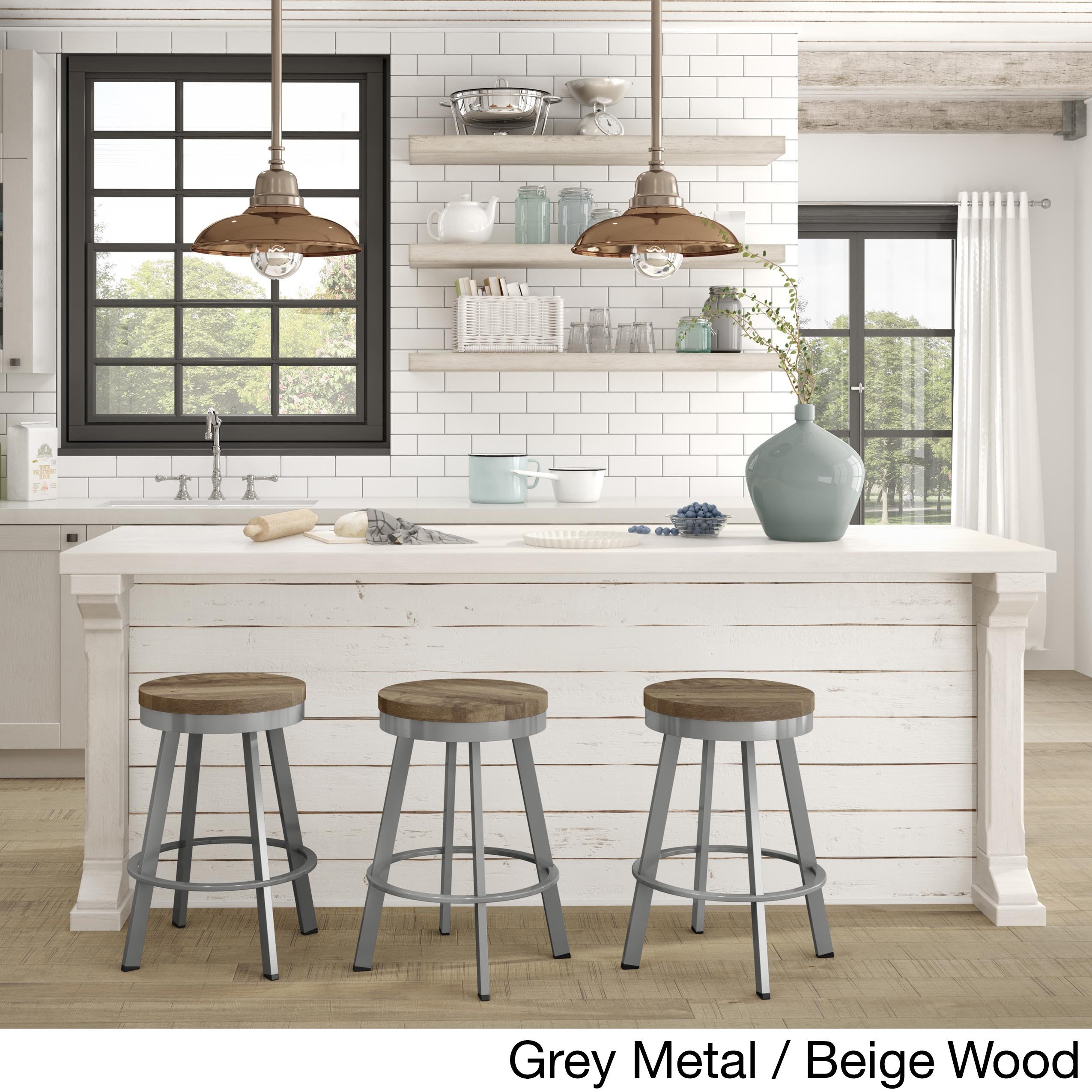 Carbon Loft Murdock Swivel Metal/Wood Counter Stool - Free Shipping ...