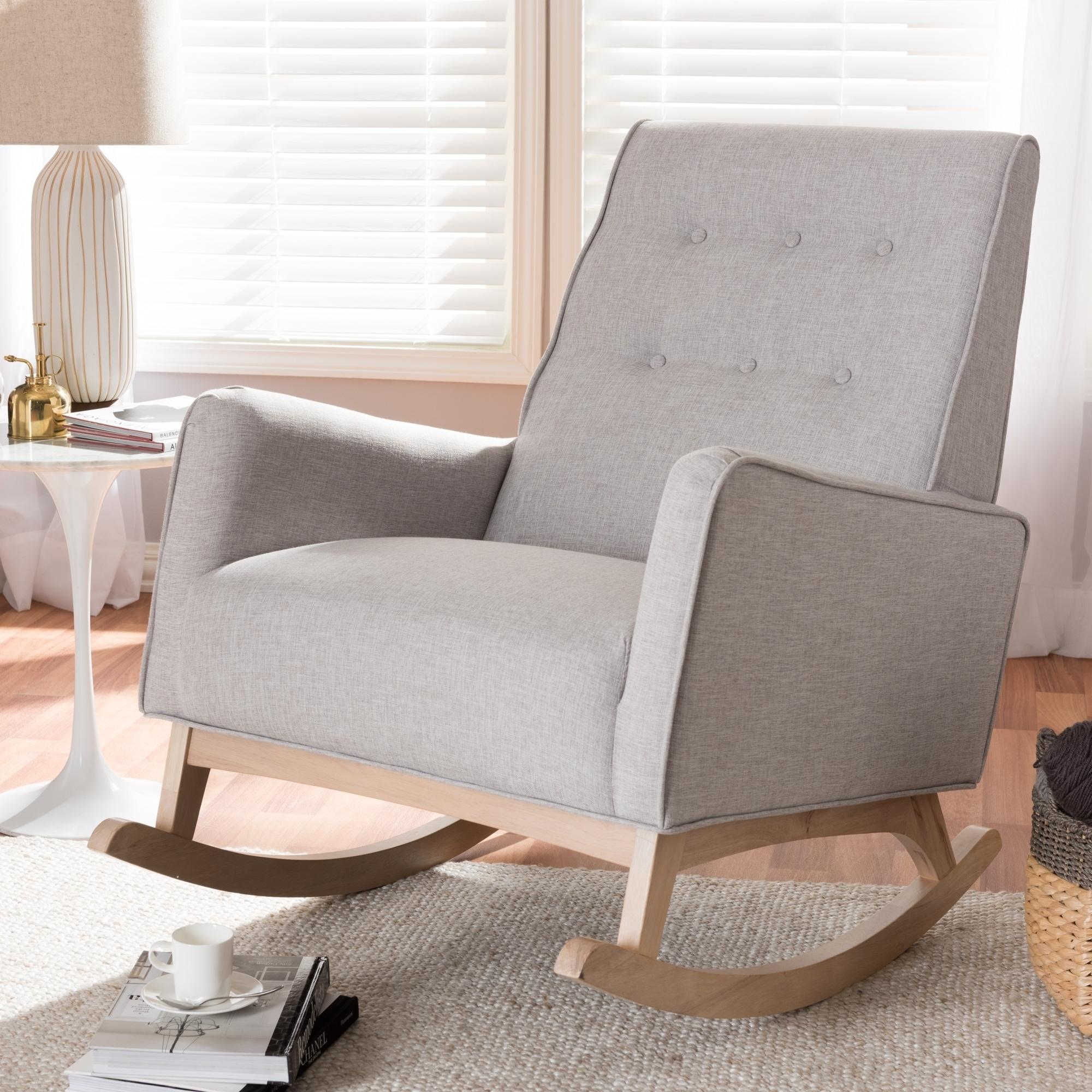 Shop Mid-century Fabric Rocking Chair by Baxton Studio - Free ...