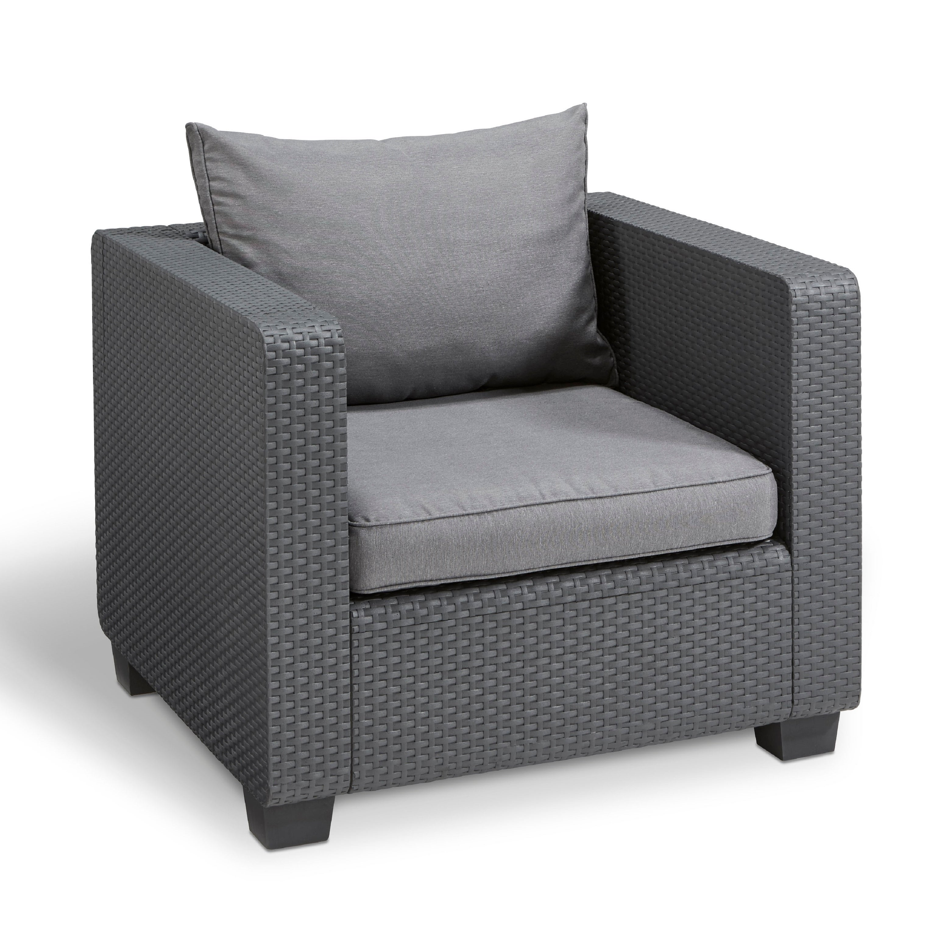 Shop Keter Salta All Weather Outdoor Patio Armchair With Sunbrella Cushions    Free Shipping Today   Overstock.com   20309210