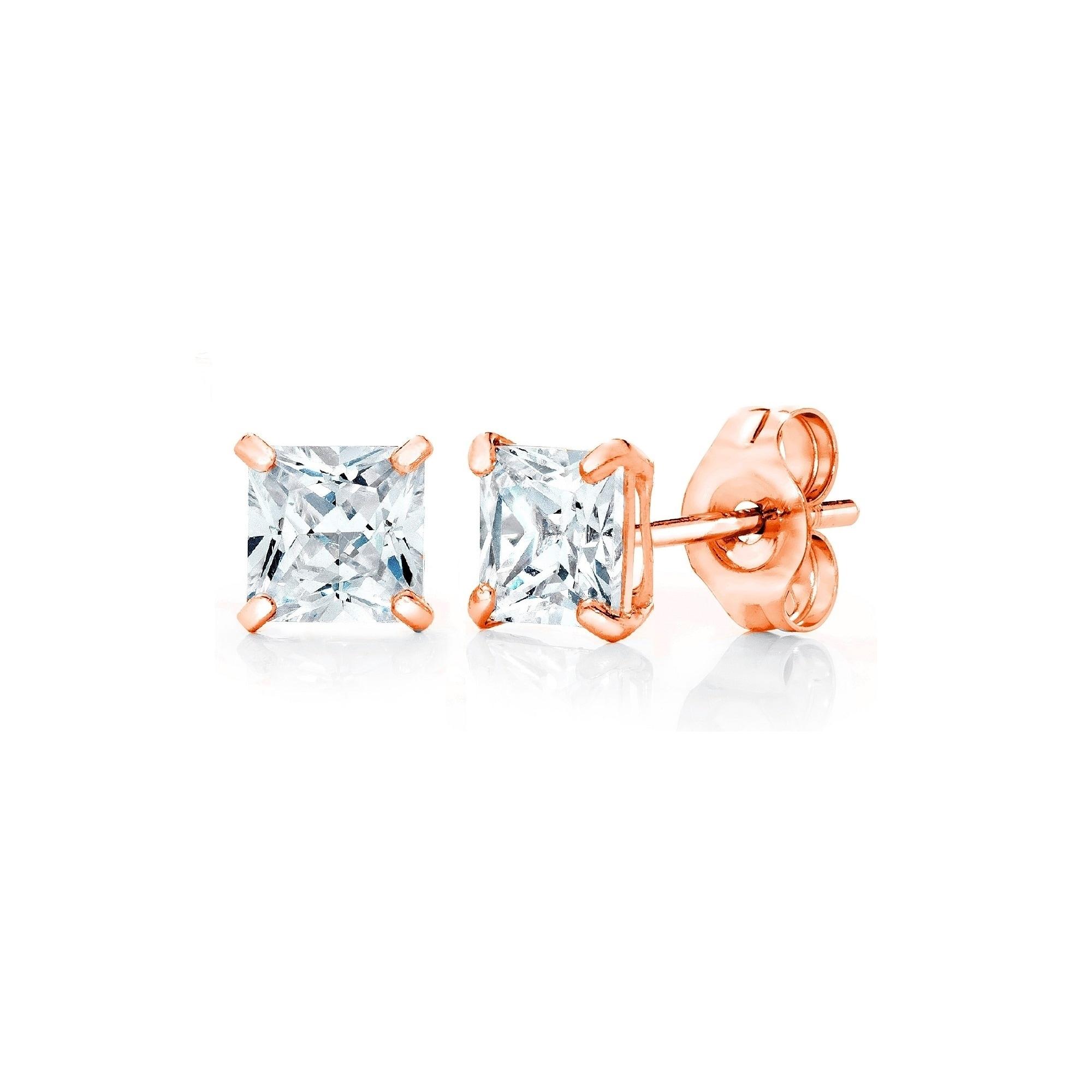 Pori Jewelers 14K Gold 3MM Princess-Cut Stud Earrings wCrystal by ...