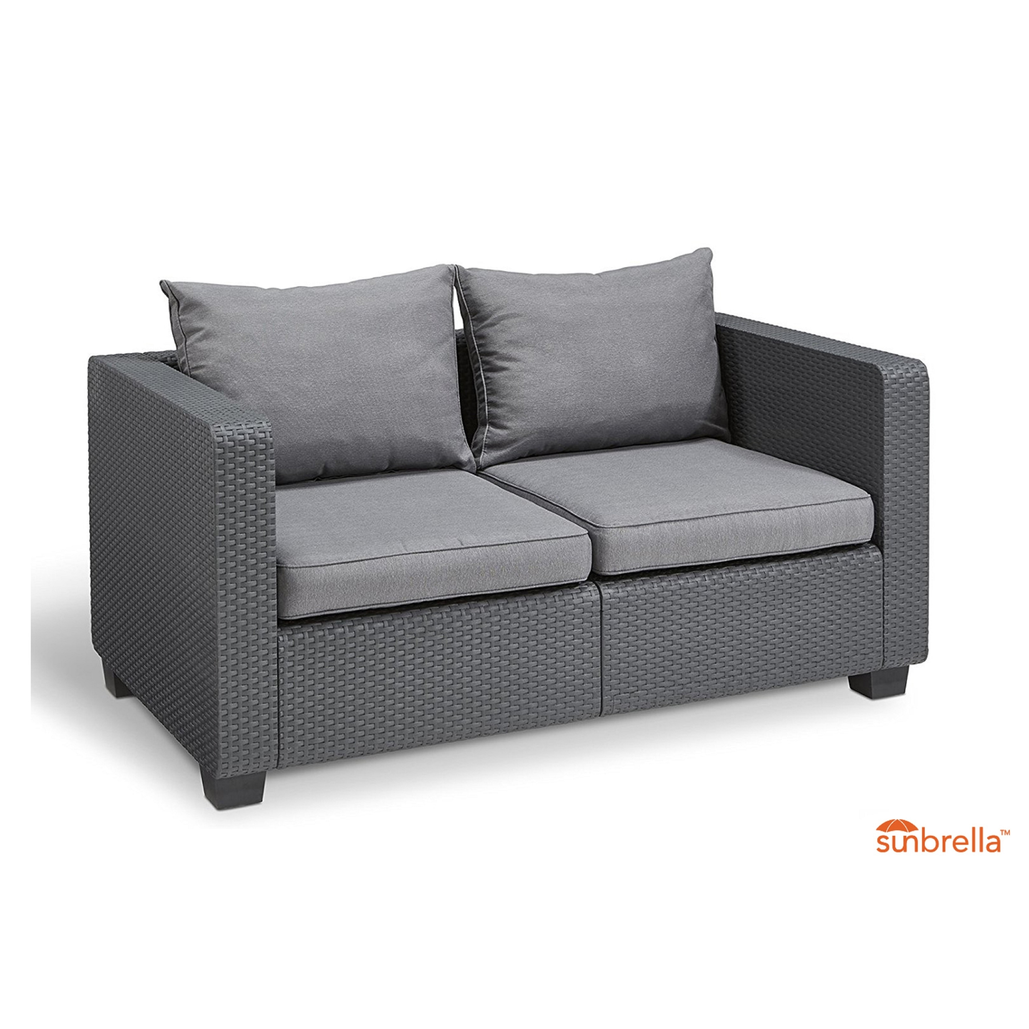 Genial Shop Keter Salta All Weather Outdoor Patio Loveseat With Sunbrella Cushions    Free Shipping Today   Overstock.com   20310217