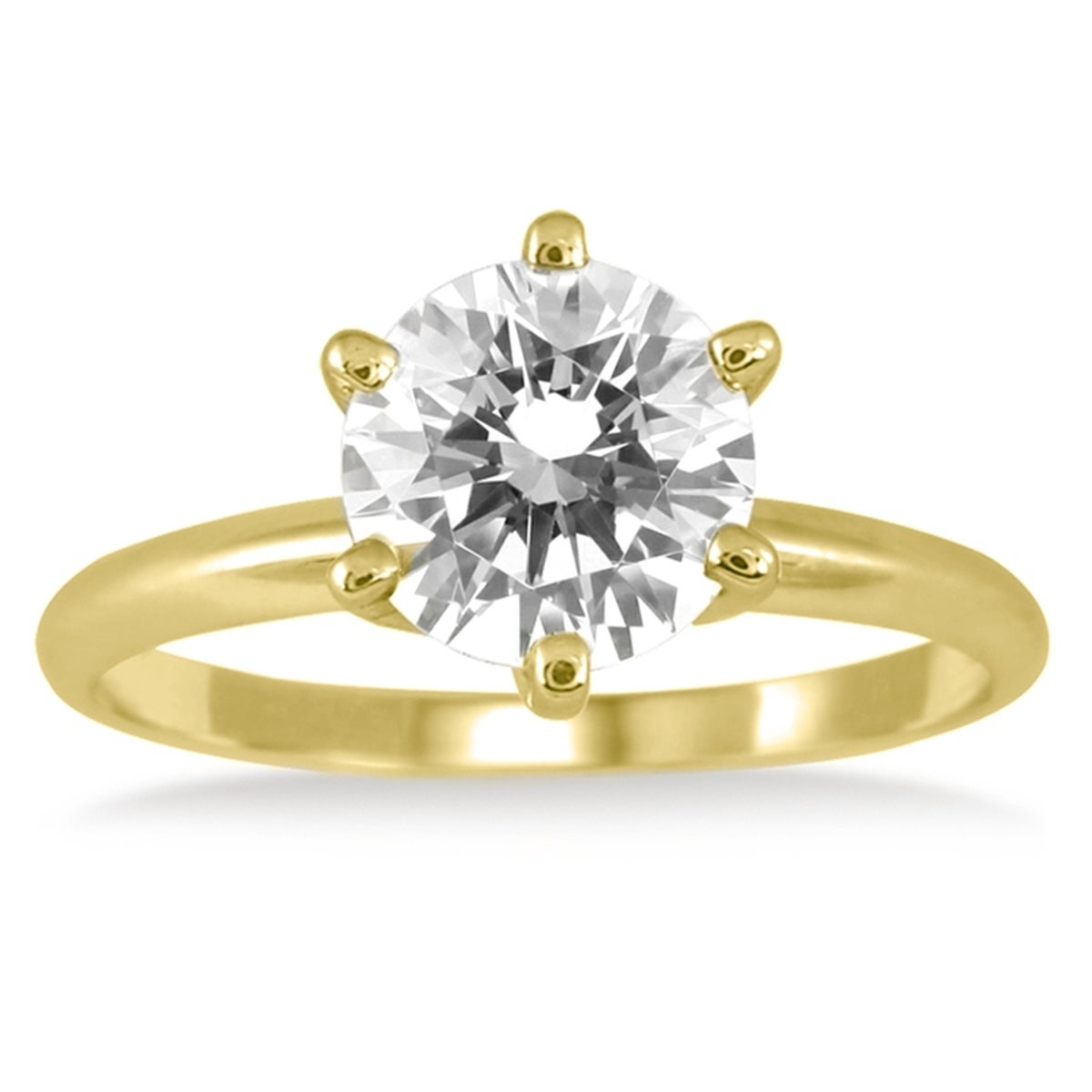 24f3c089383922 Shop Signature Quality 1 Carat Diamond Solitaire Ring in 18K Yellow Gold (G-H  Color, SI2-SI3 Clarity) - Free Shipping Today - Overstock - 20310867