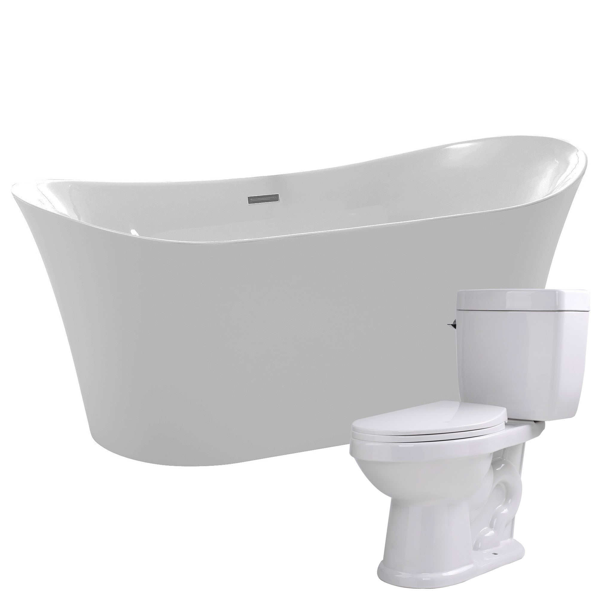 Eft 67 in. Acrylic Soaking Bathtub in White with Talos 2-piece 1.6 ...