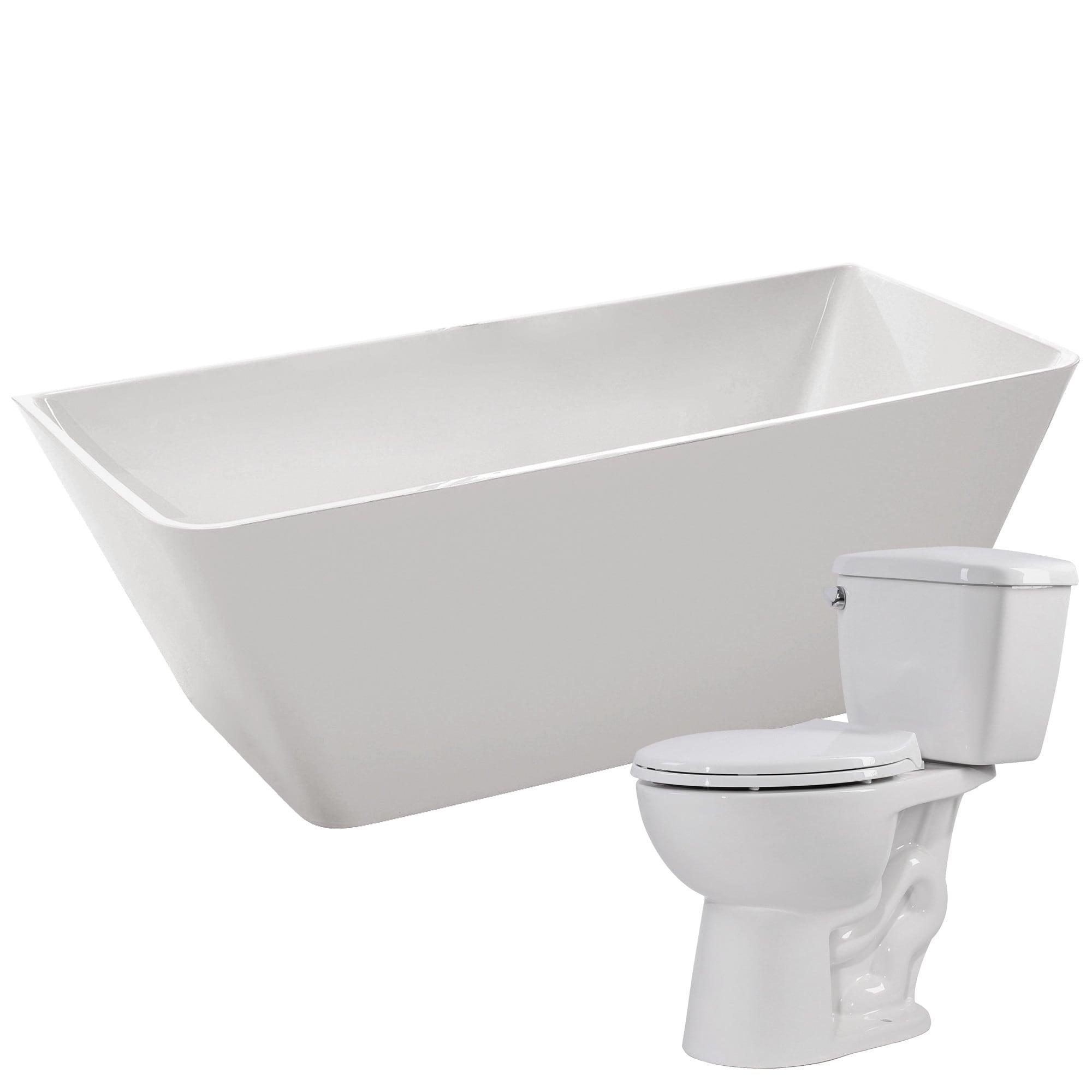 Shop Zenith 67 in. Acrylic Soaking Bathtub in White with Cavalier 2 ...