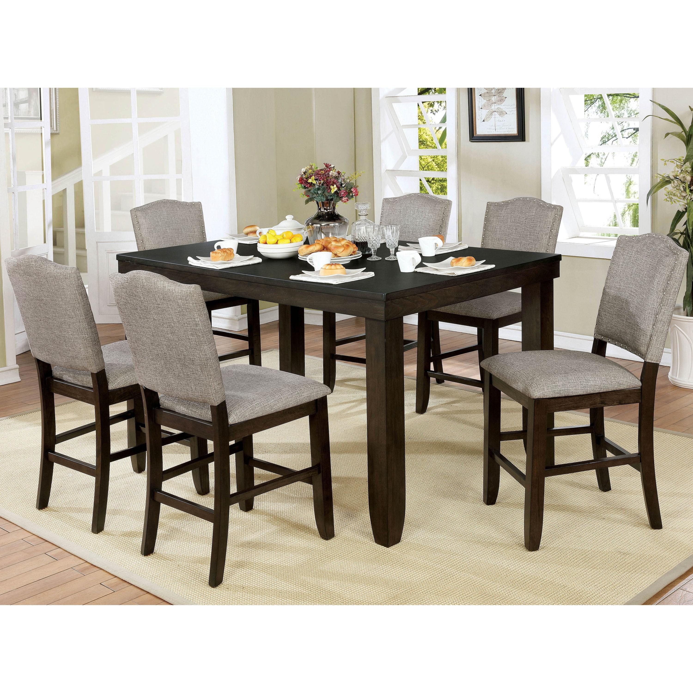 Furniture of america davenport transitional 7 piece dark walnut counter height dining table set