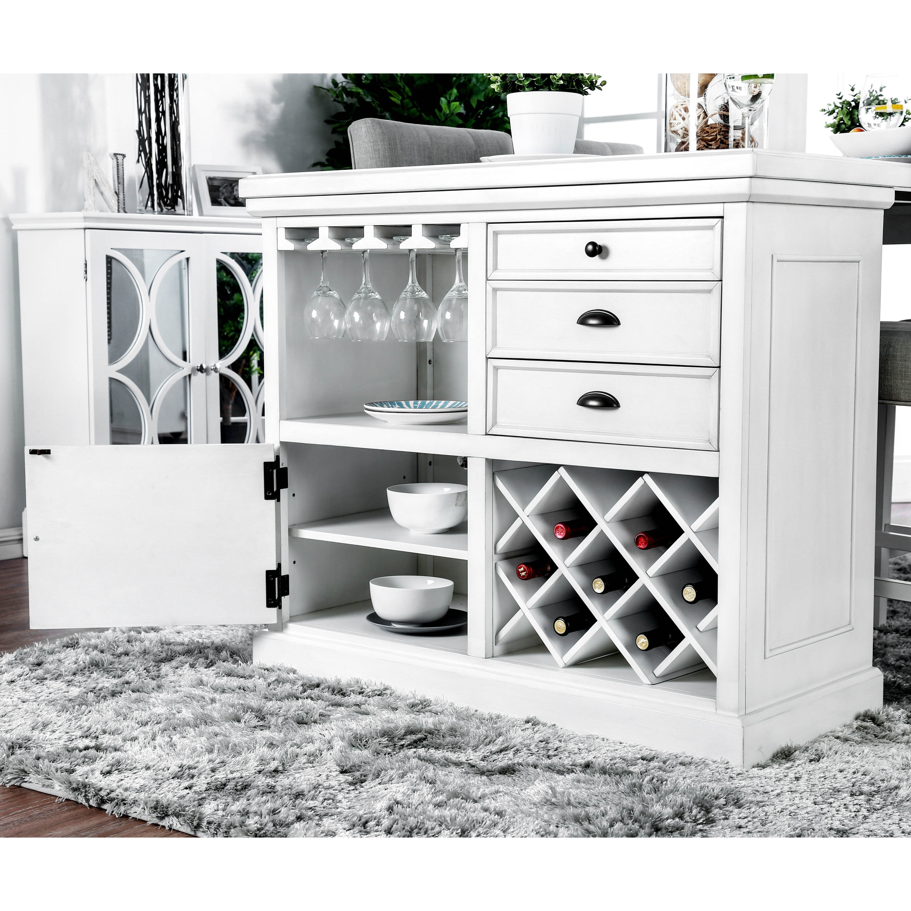 Shop Furniture of America Tia Cottage Style 5 Piece Counter Height