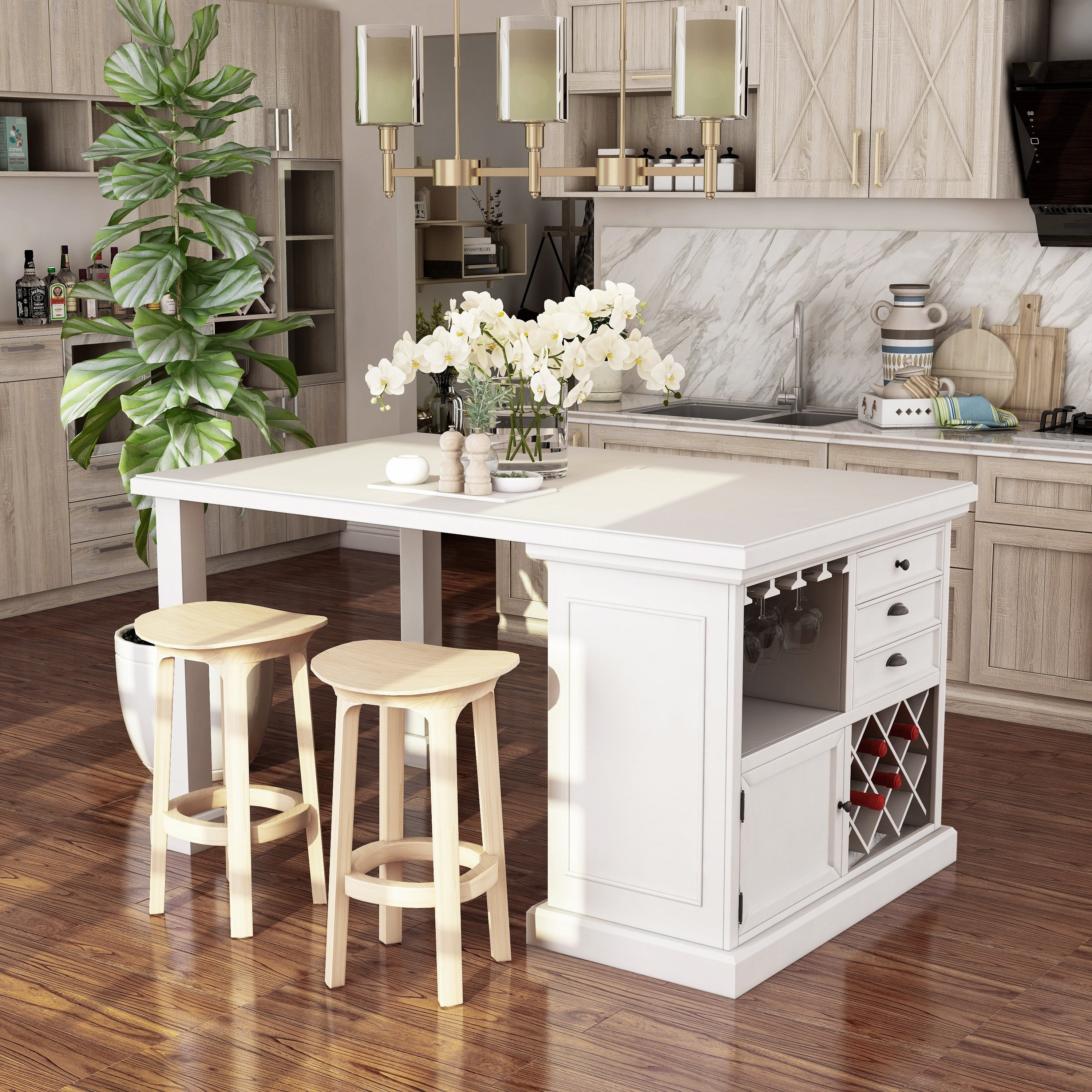 Furniture Of America Tia Transitional White 66 Inch Kitchen Island Overstock 20331449
