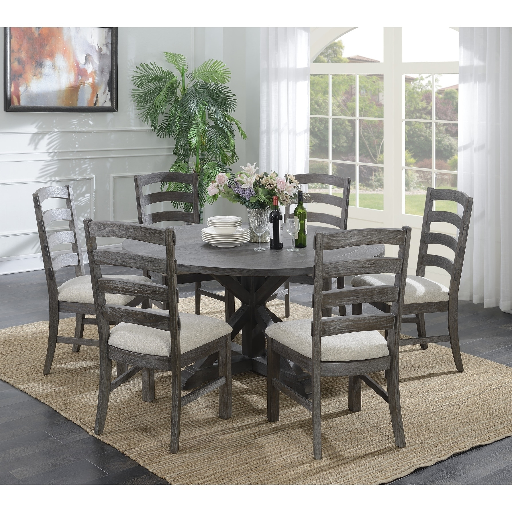 Shop emerald home paladin rustic charcoal gray round dining table rustic charcoal gray free shipping today overstock com 20338768