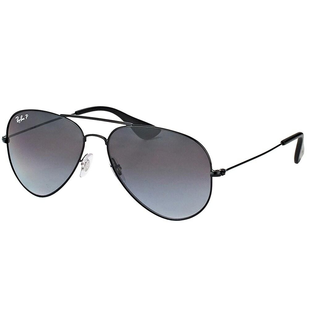 bd268ffd22 Ray-Ban Aviator RB 3558 002 T3 Unisex Black Frame Grey Gradient Polarized  Lens Sunglasses