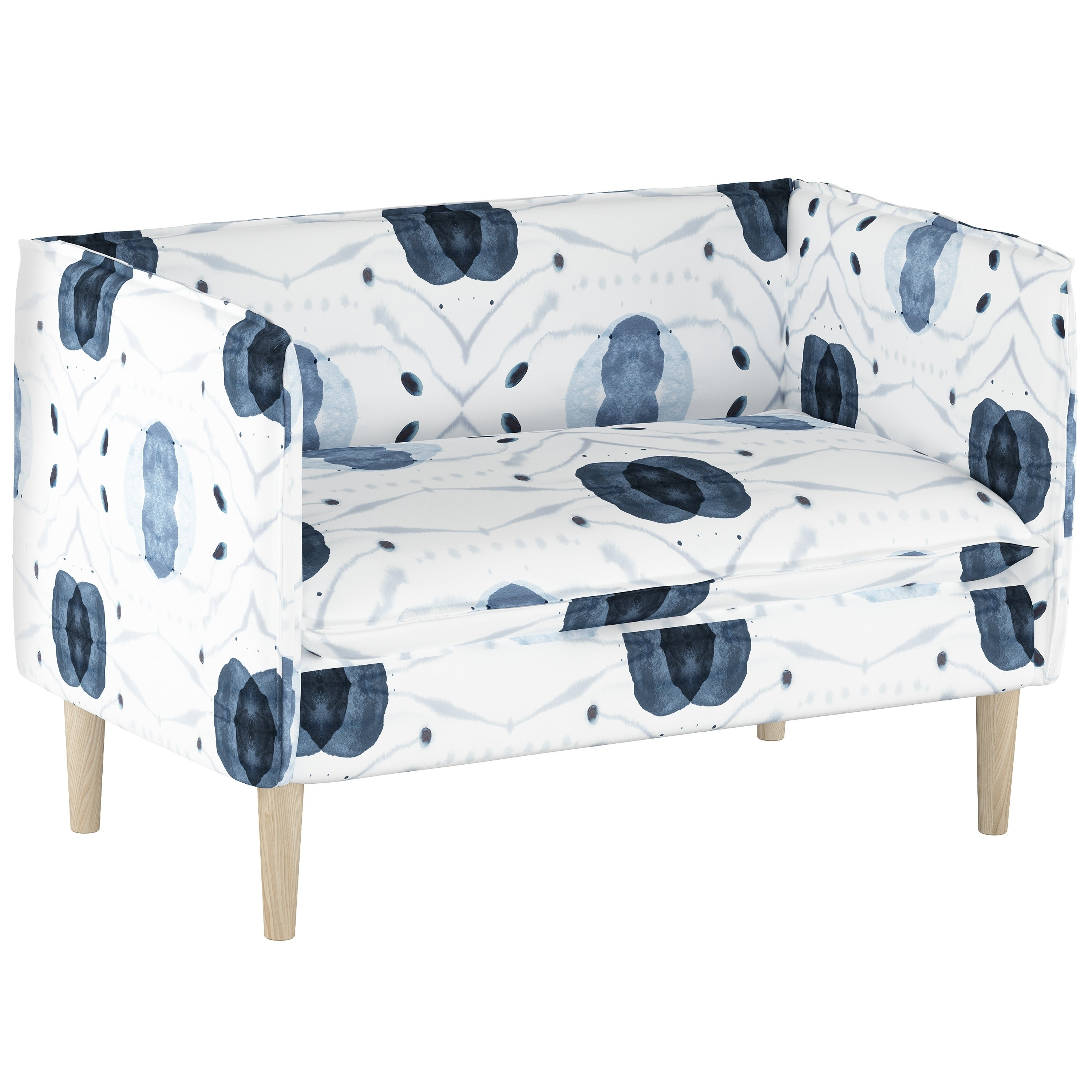 Shop Skyline Furniture French Seam Settee In Delray Blue   On Sale   Free  Shipping Today   Overstock.com   20344595