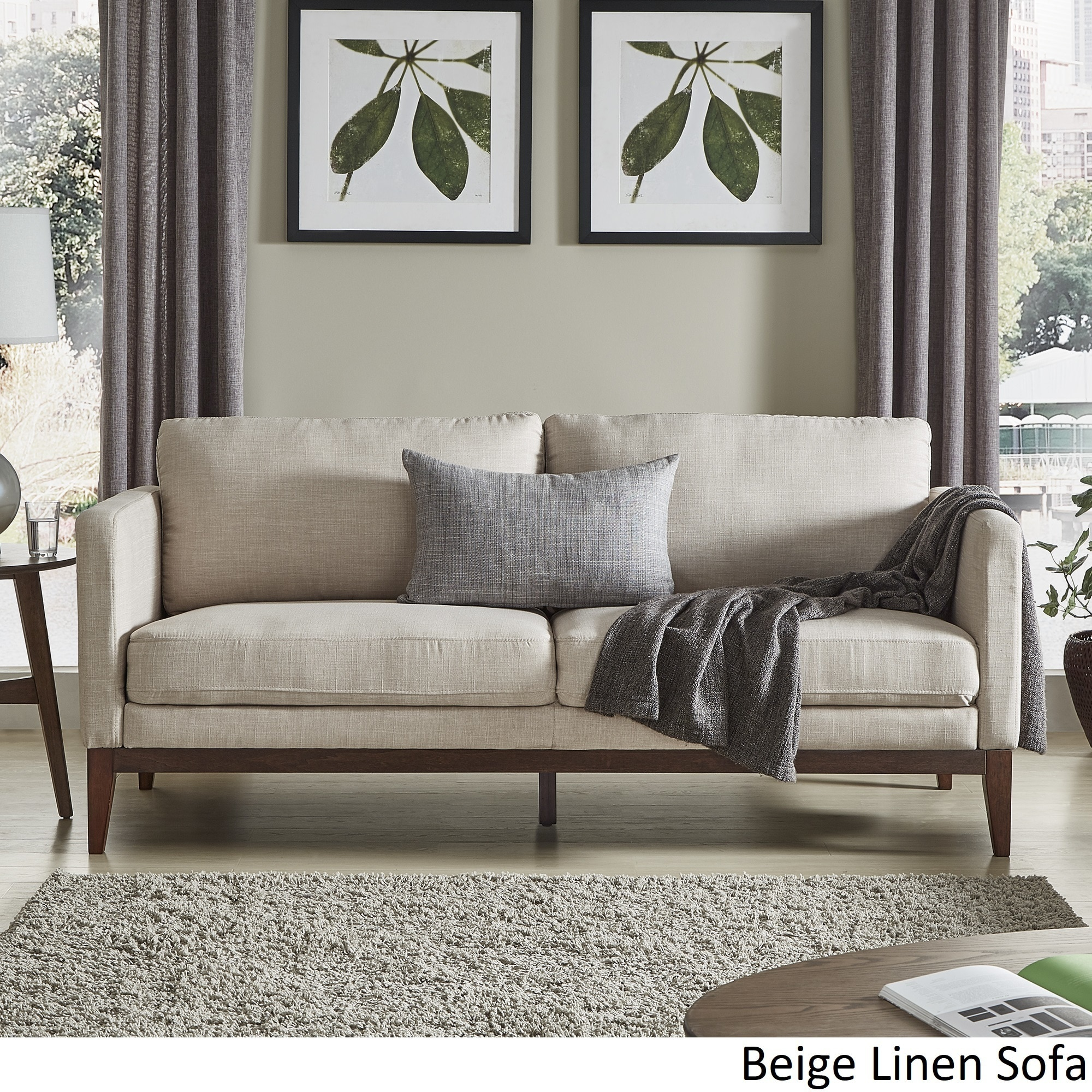 Shop perry linen upholstered living room set by inspire q modern free shipping today overstock com 20348464