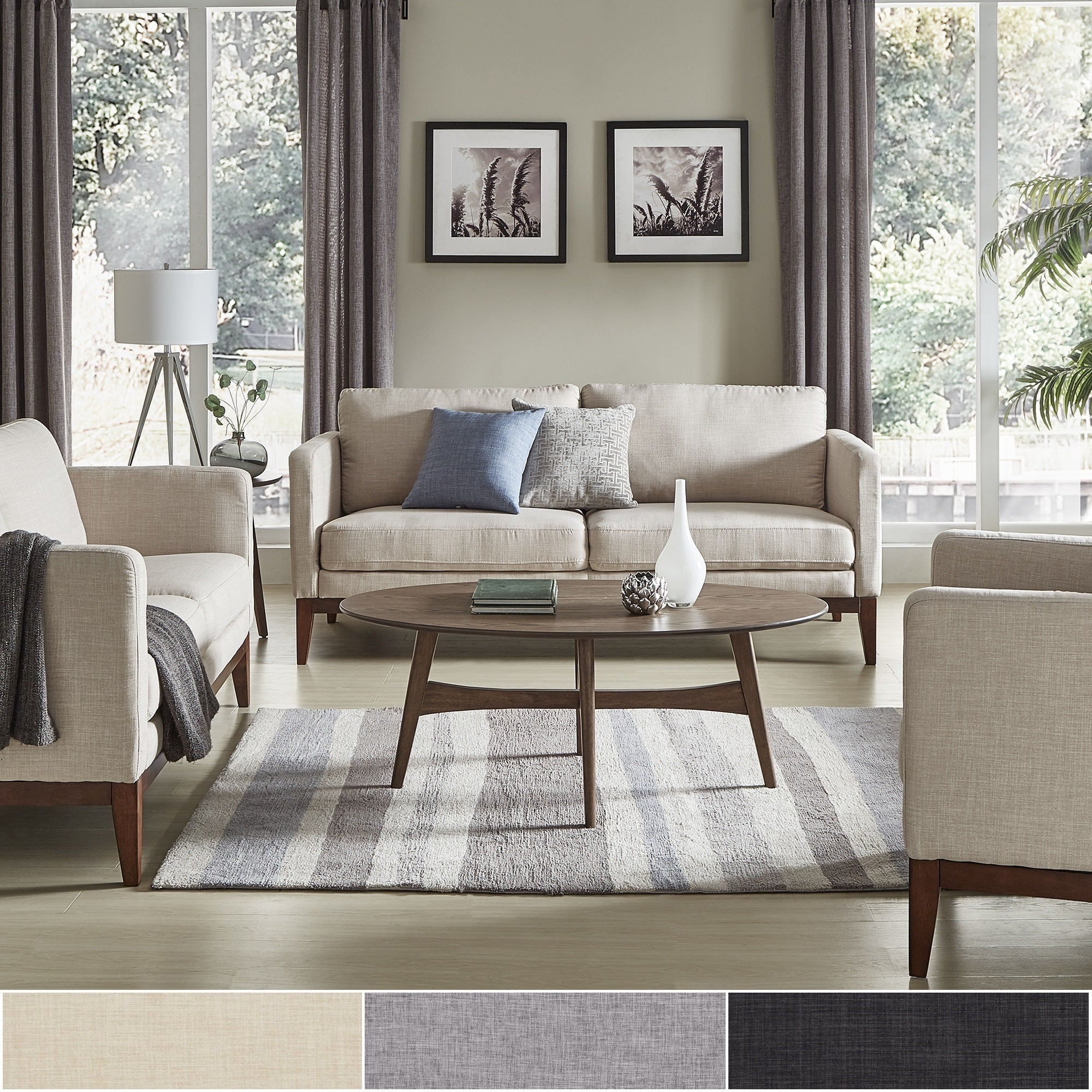 Perry linen upholstered living room set by inspire q modern