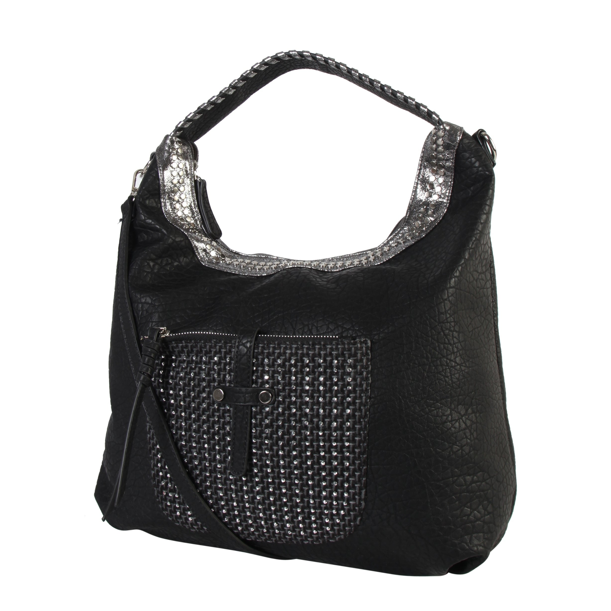 Shop Diophy Front Woven with Stud Pocket Large Hobo Bag - L - Free Shipping  On Orders Over  45 - Overstock.com - 20349807 9865039235