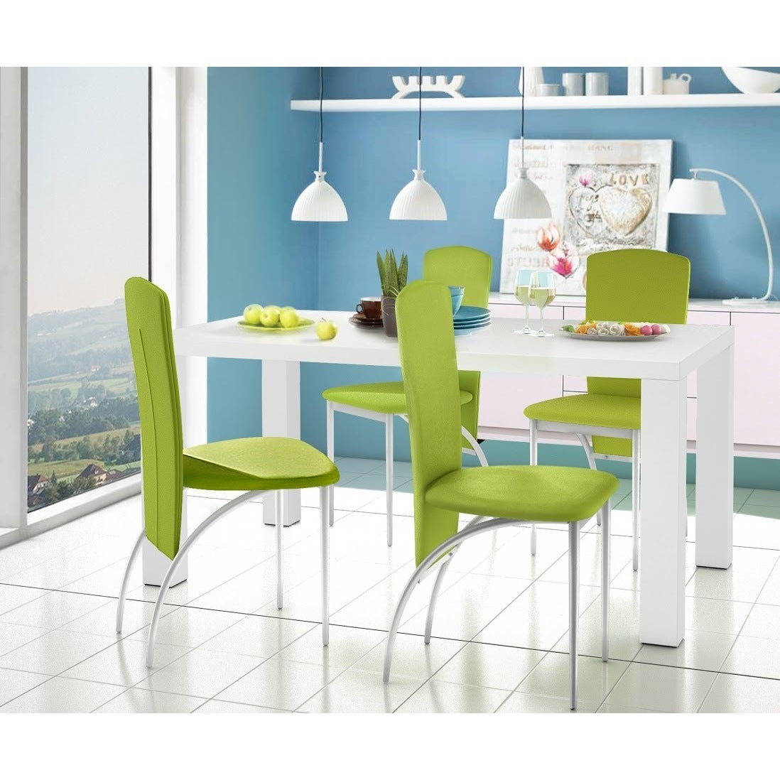 Nevada High Gloss Faux Leather 5-Piece Dining Set - Free Shipping ...