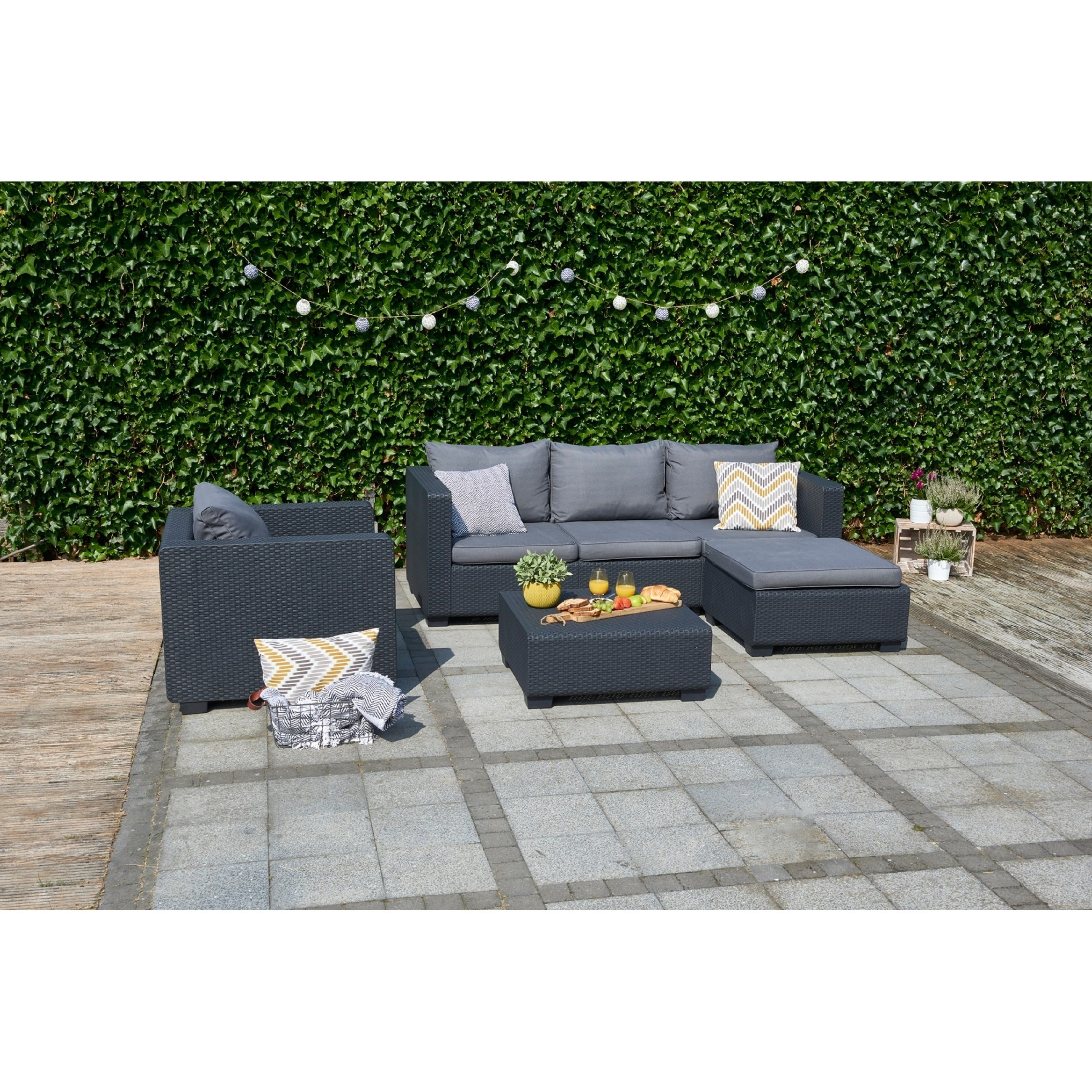 Shop Keter Salta 3 Seat All Weather Outdoor Patio Sofa With Sunbrella  Cushions   Free Shipping Today   Overstock.com   20359546