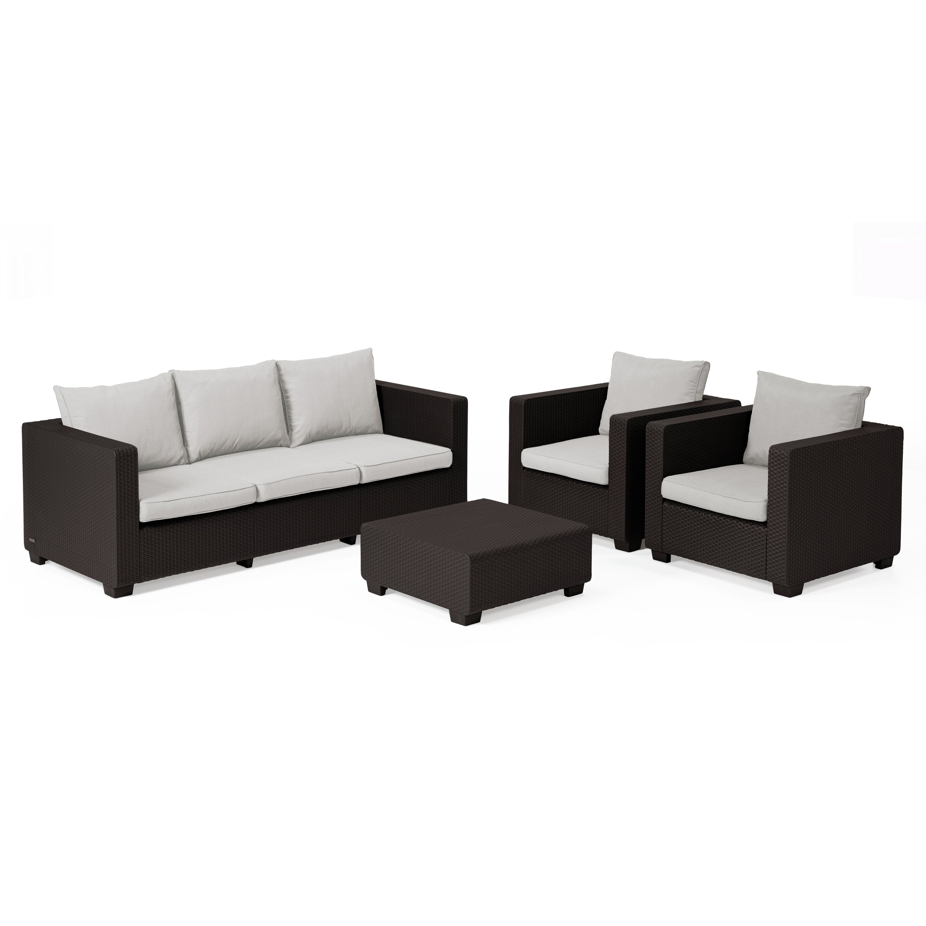 Keter Salta 3 Seat All Weather Outdoor Patio Sofa With Sunbrella Cushions Free Shipping Today 20359546