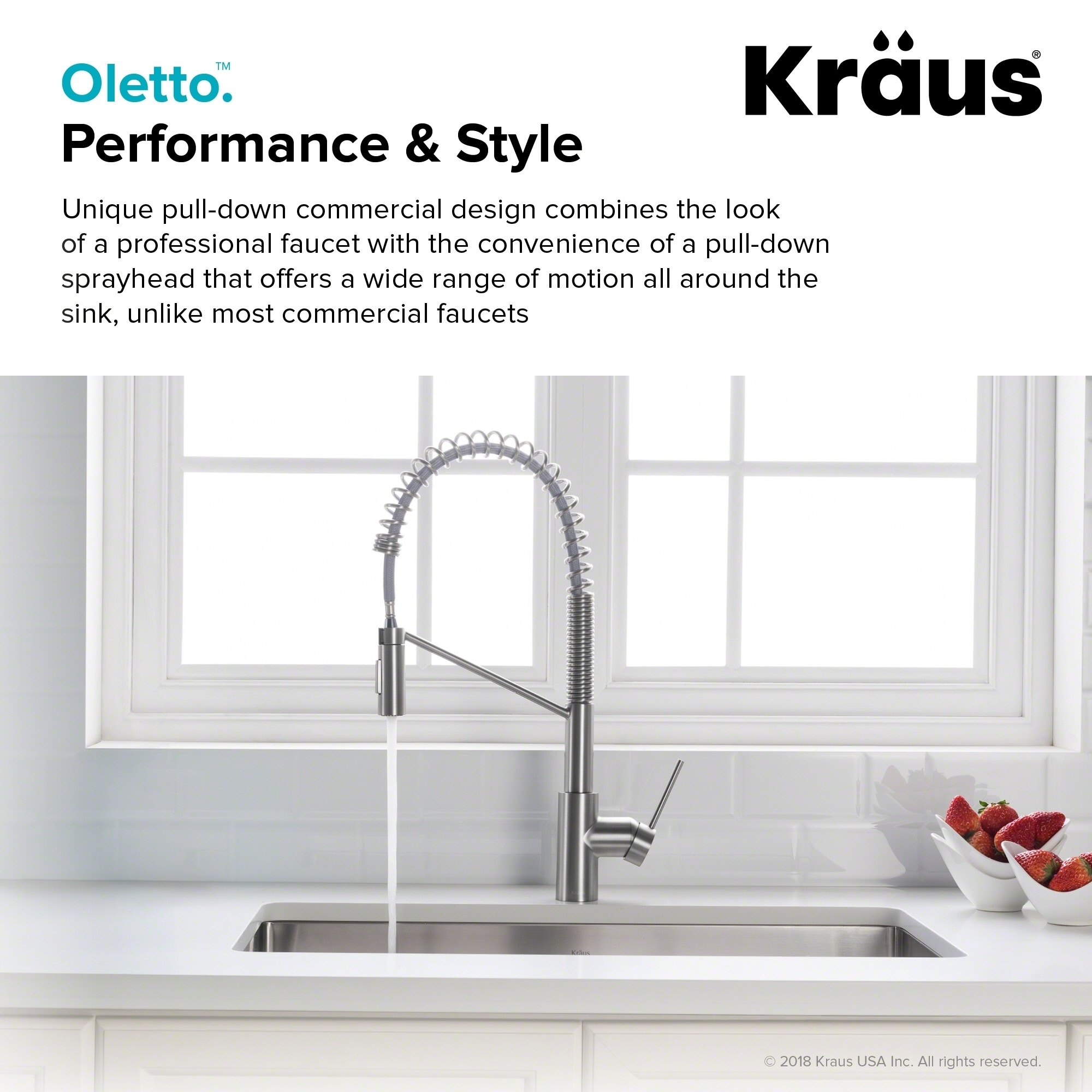 KRAUS Oletto™ Single Handle Pull Down Commercial Kitchen Faucet with ...