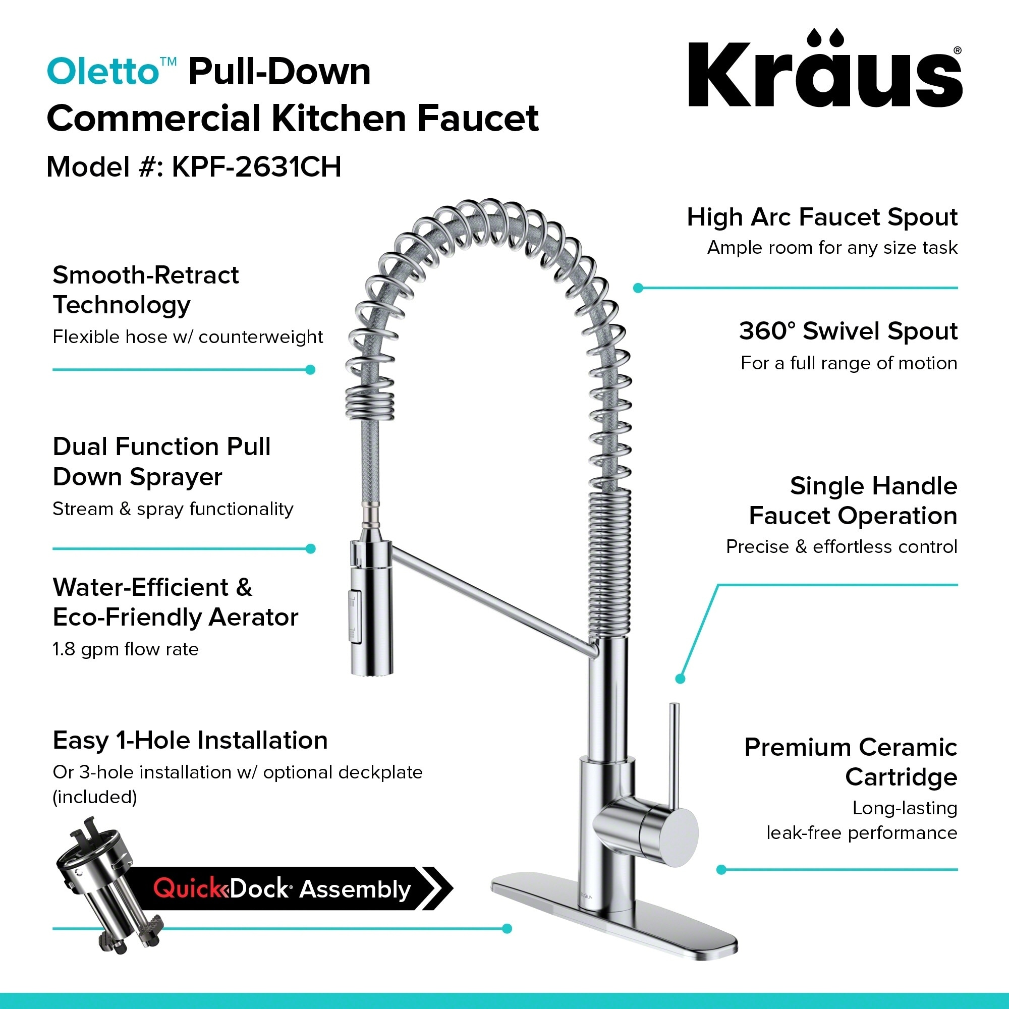 style handle kitchen kraususa out down rinse pull com single sprayer faucet kpf with kraus commercial pre lever