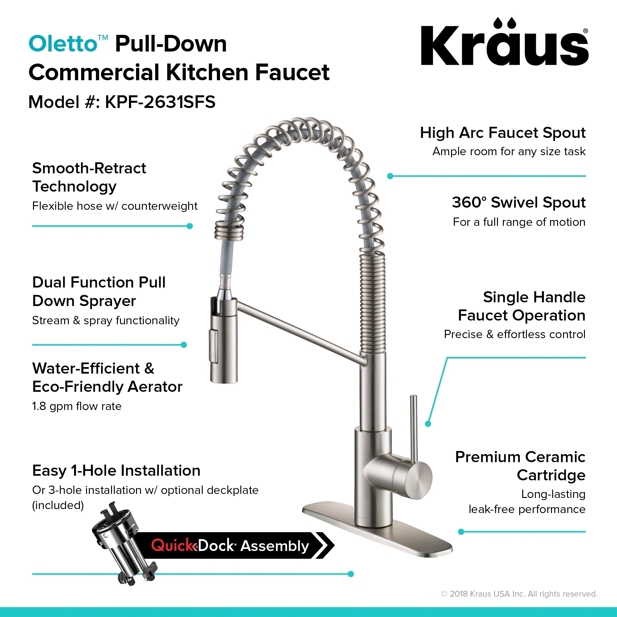 single faucet w commercial kraus resource bolden handle itm sprayhead pull kitchen down