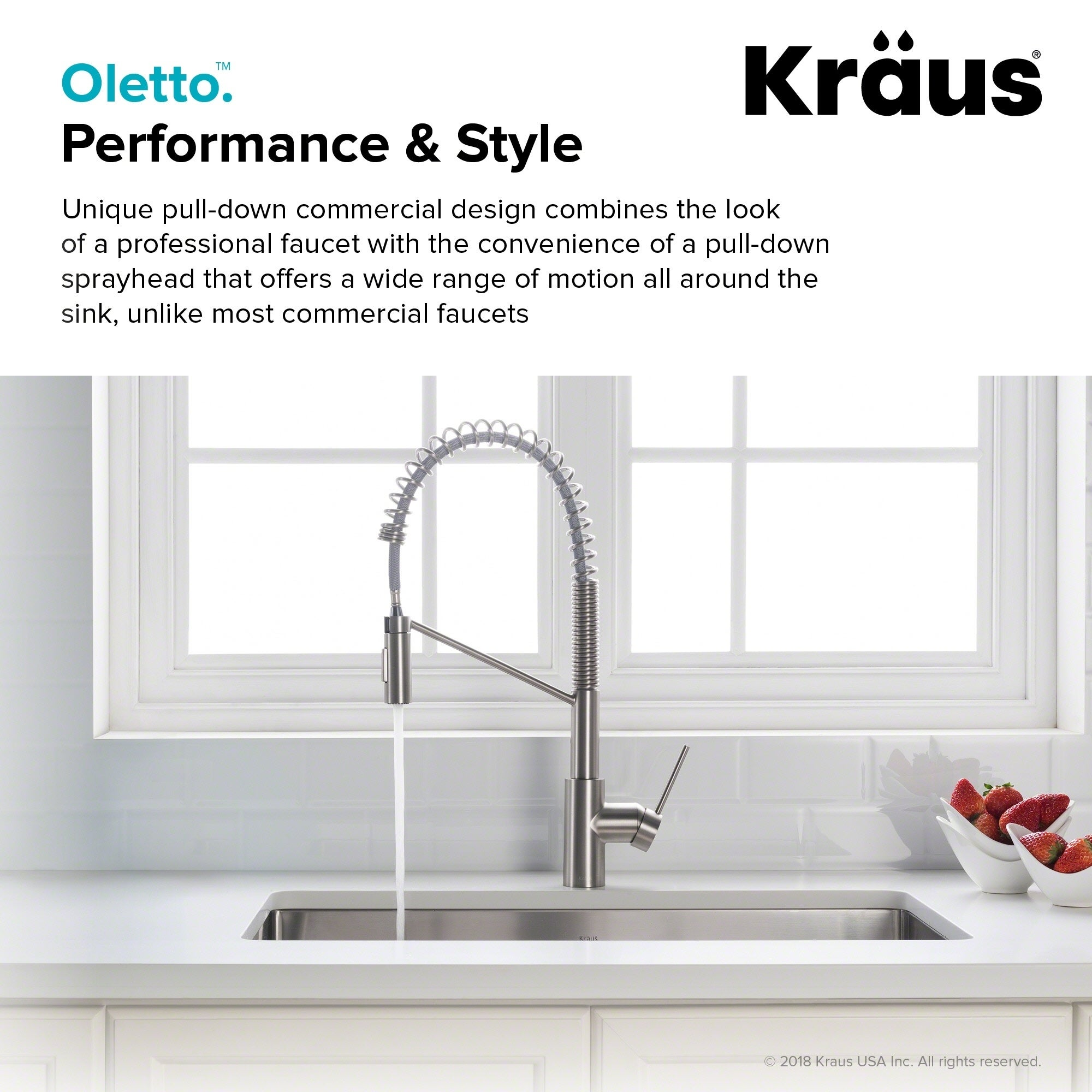 KRAUS Oletto™ Single Handle Pull Down mercial Kitchen Faucet