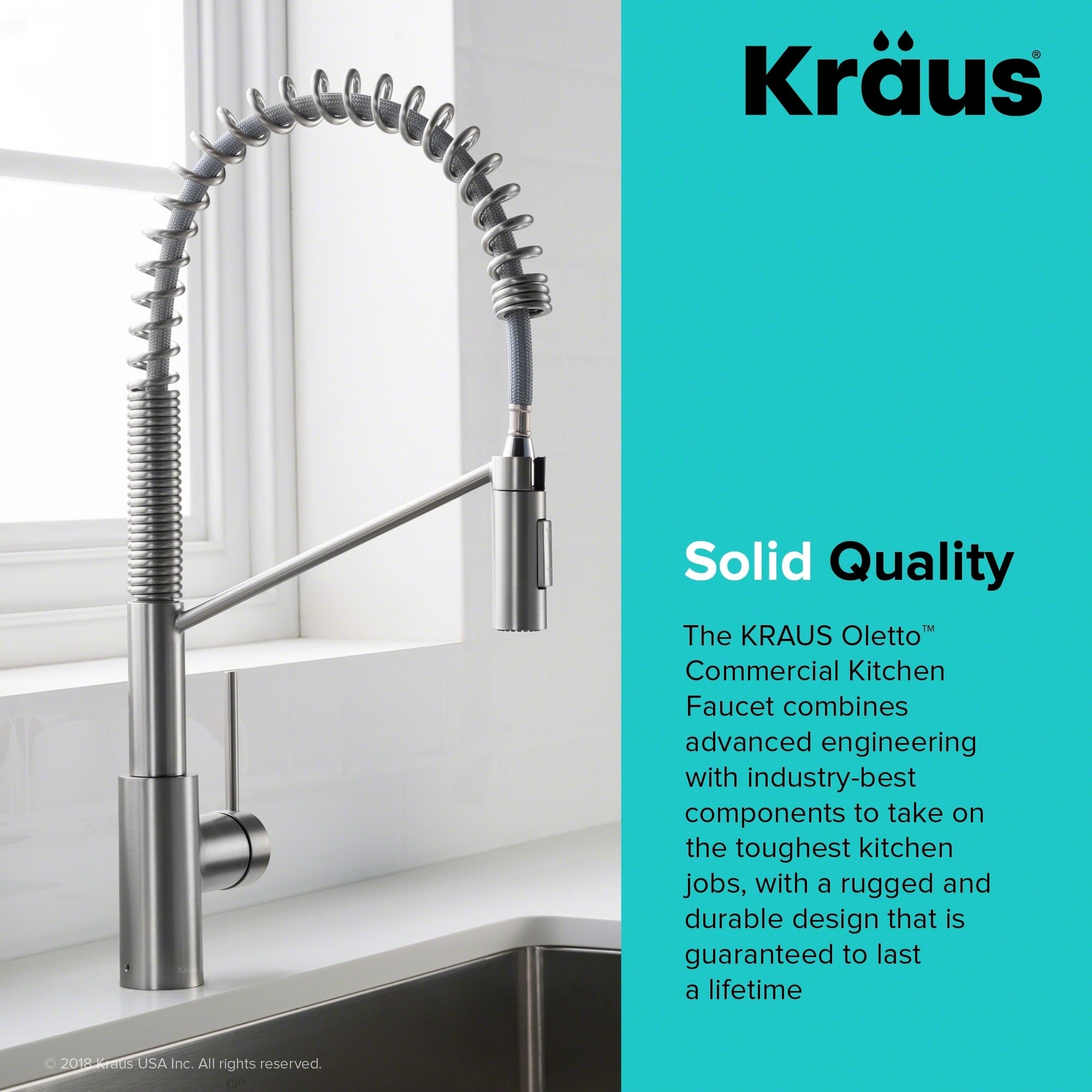 Shop KRAUS Oletto™ Single Handle Pull Down Commercial Kitchen Faucet ...