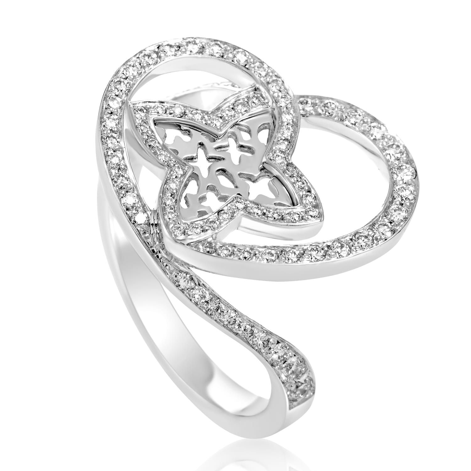 0144a0c1cb9 Shop Louis Vuitton Idylle Blossom Women s White Gold Diamond Heart Ring -  Free Shipping Today - Overstock - 20360242