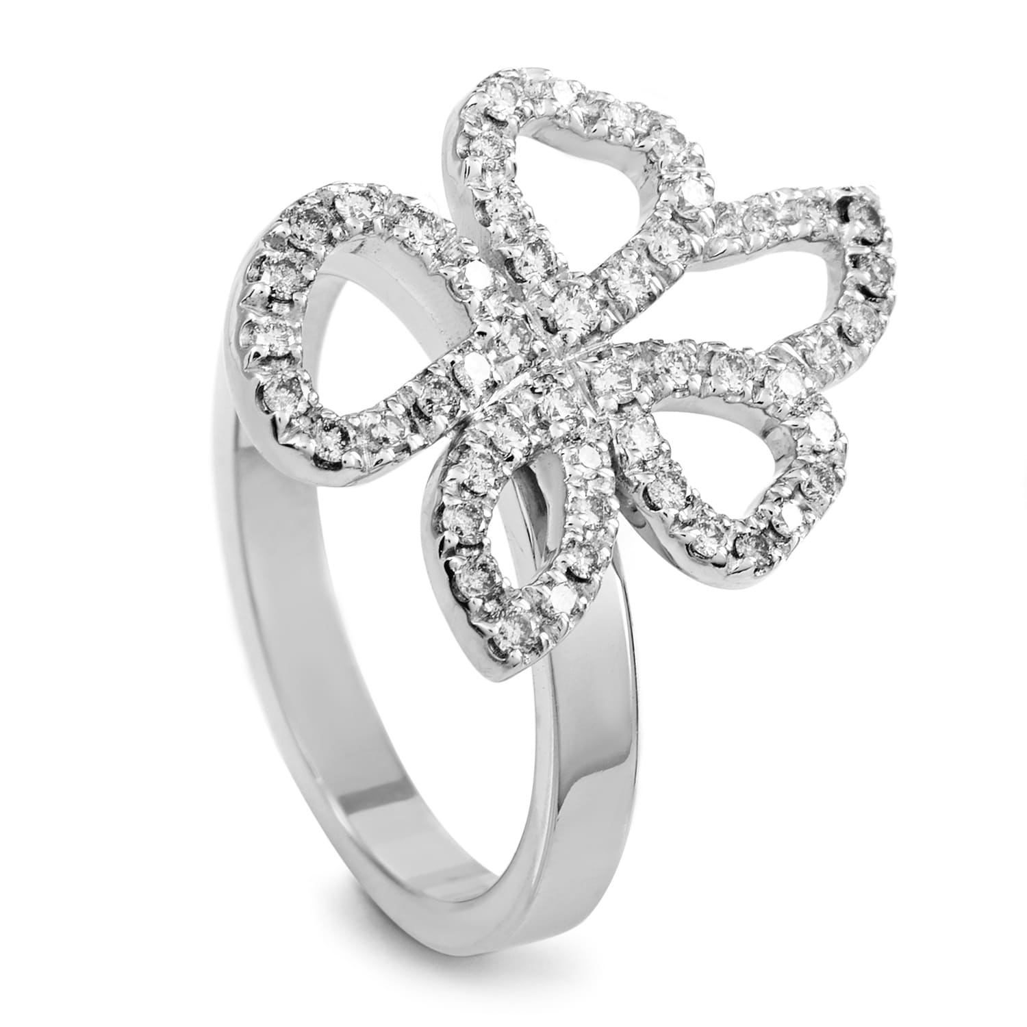 Shop Gucci Womens White Gold Movable Diamond Flower Ring On Sale