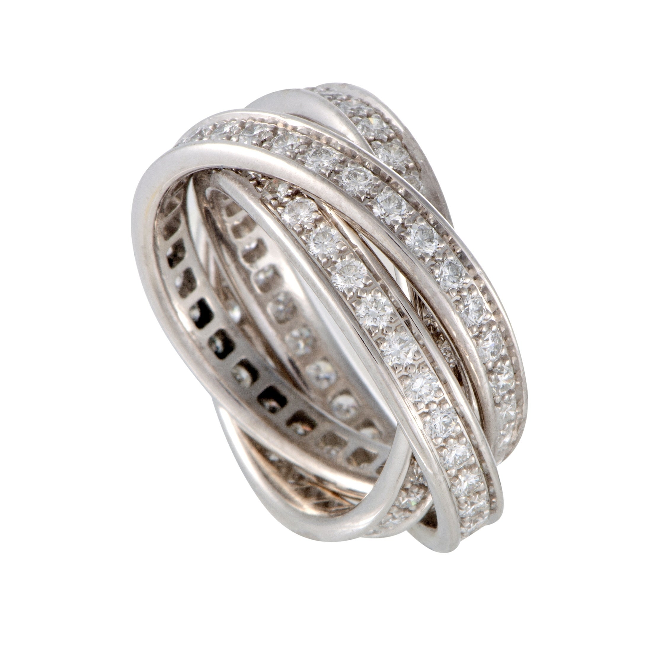 Shop Trinity White Gold Full Diamond Pave Rolling Band Ring On