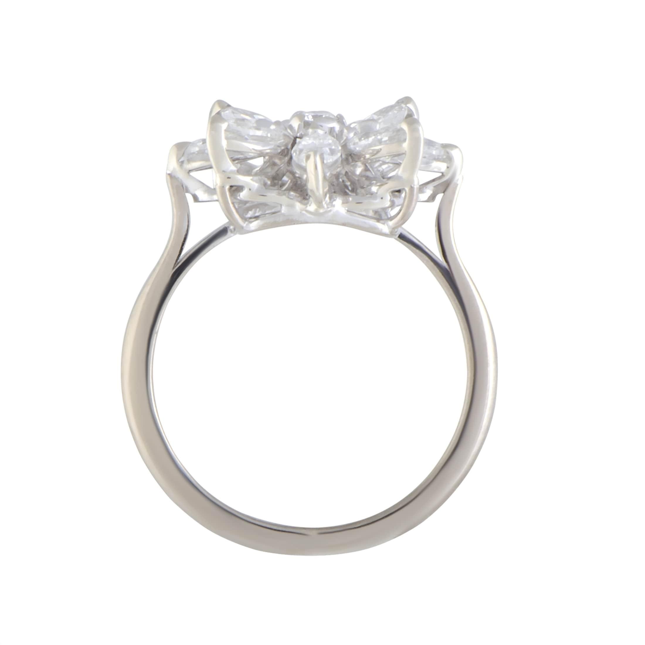 Shop Asprey White Gold Diamond Flower Ring On Sale Free Shipping