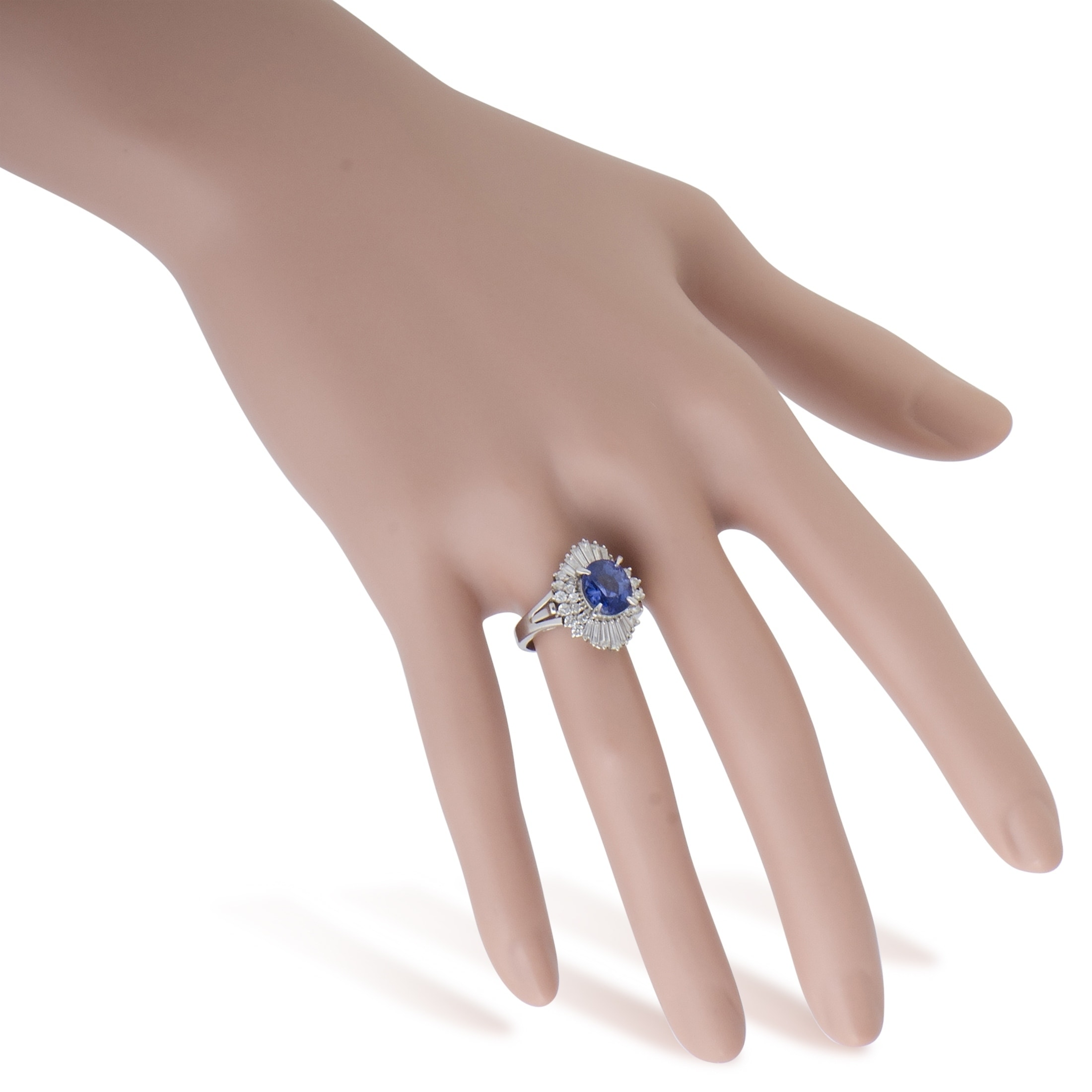 Shop Platinum Round and Tapered Baguette Diamonds Sapphire Ring ...