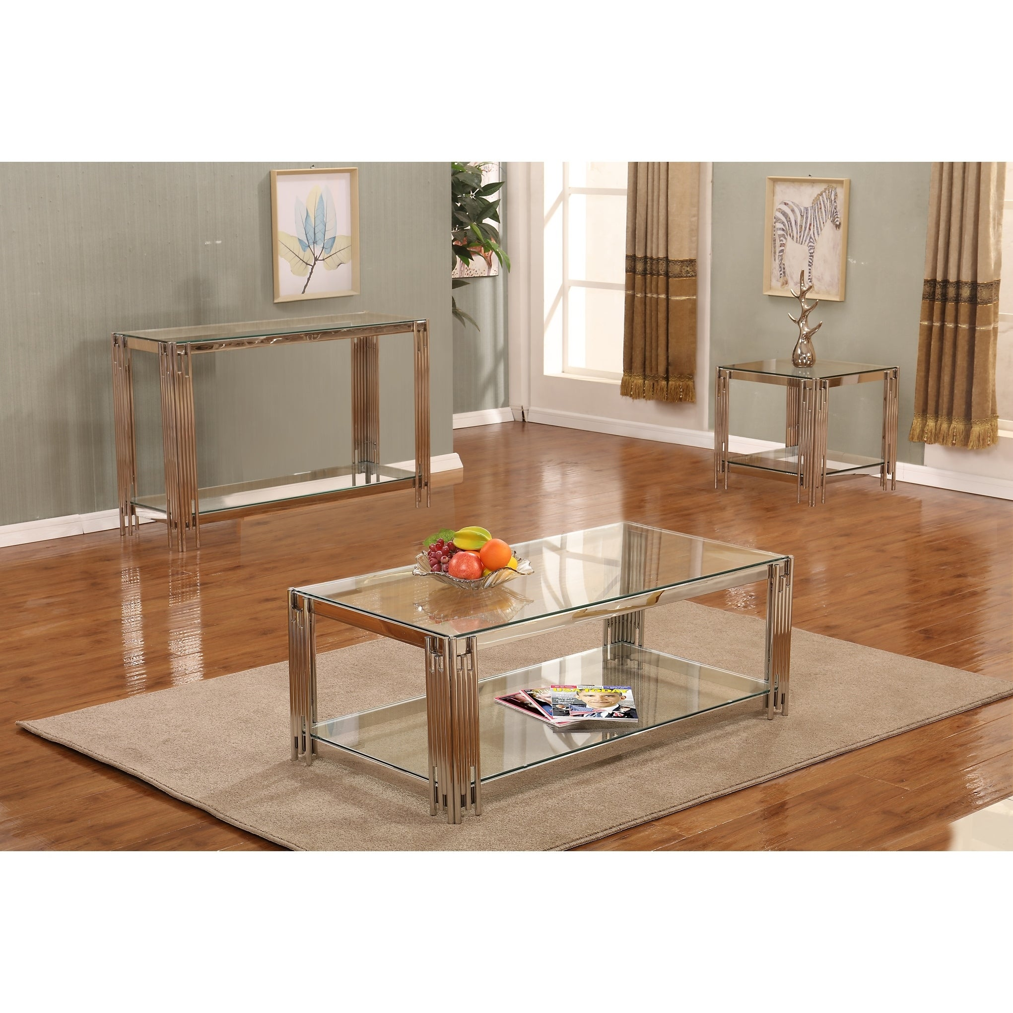 3 Piece Glass Top Coffee Table Sets.Best Quality Furniture 3 Piece Glass Top Coffee Console And End Table Set