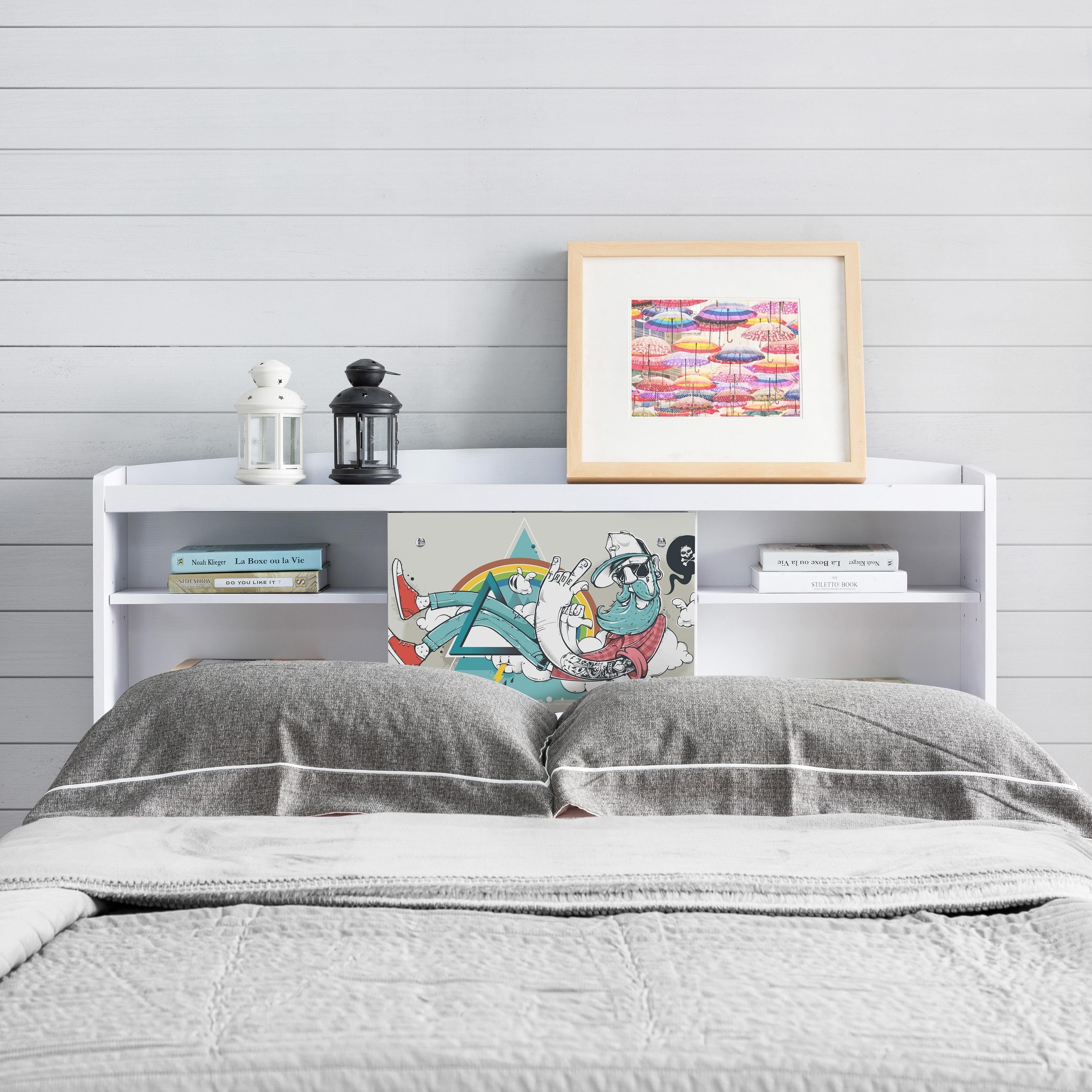 Bridgette Modern White Queen Size Bookcase Headboard Free Shipping Today 20363765