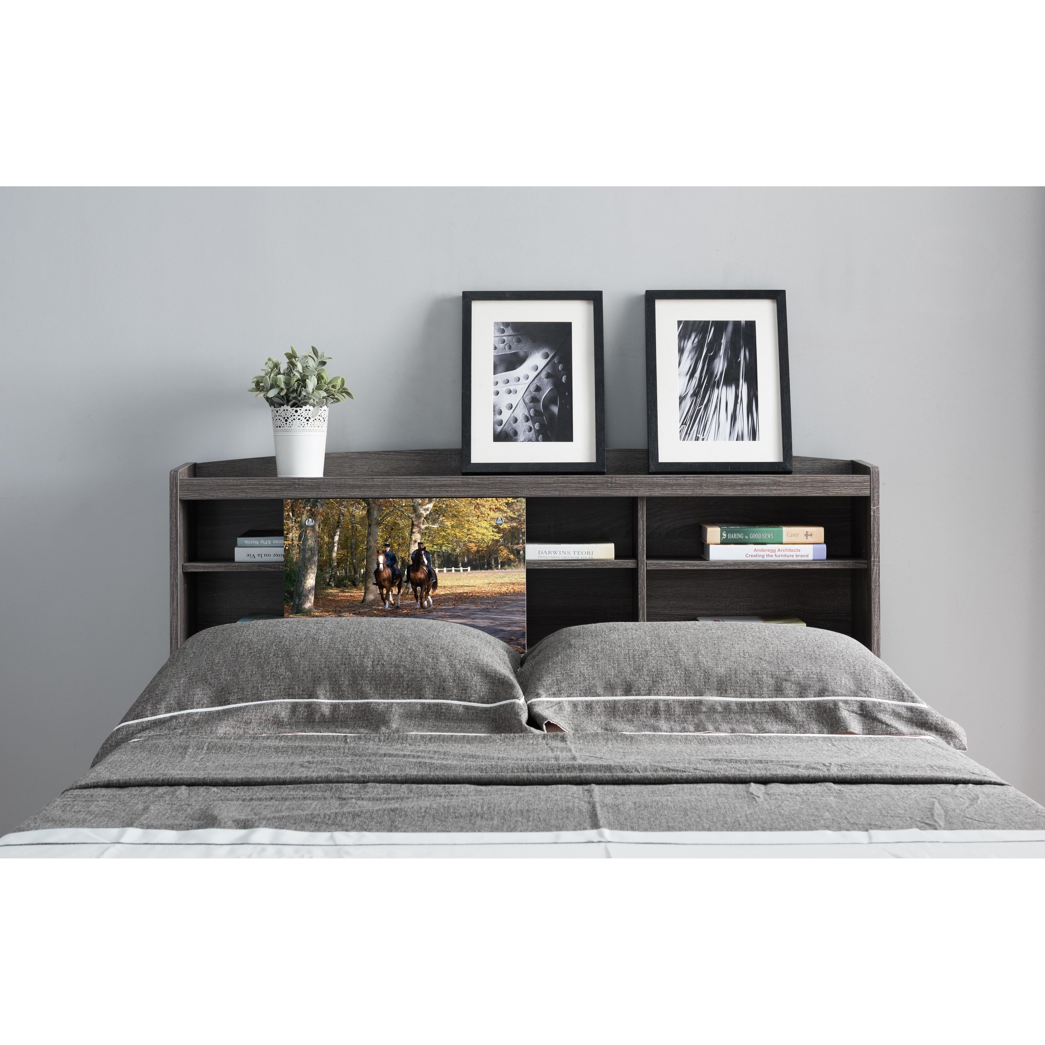 Shop Riley Contemporary Distressed Grey Queen Size Bookcase