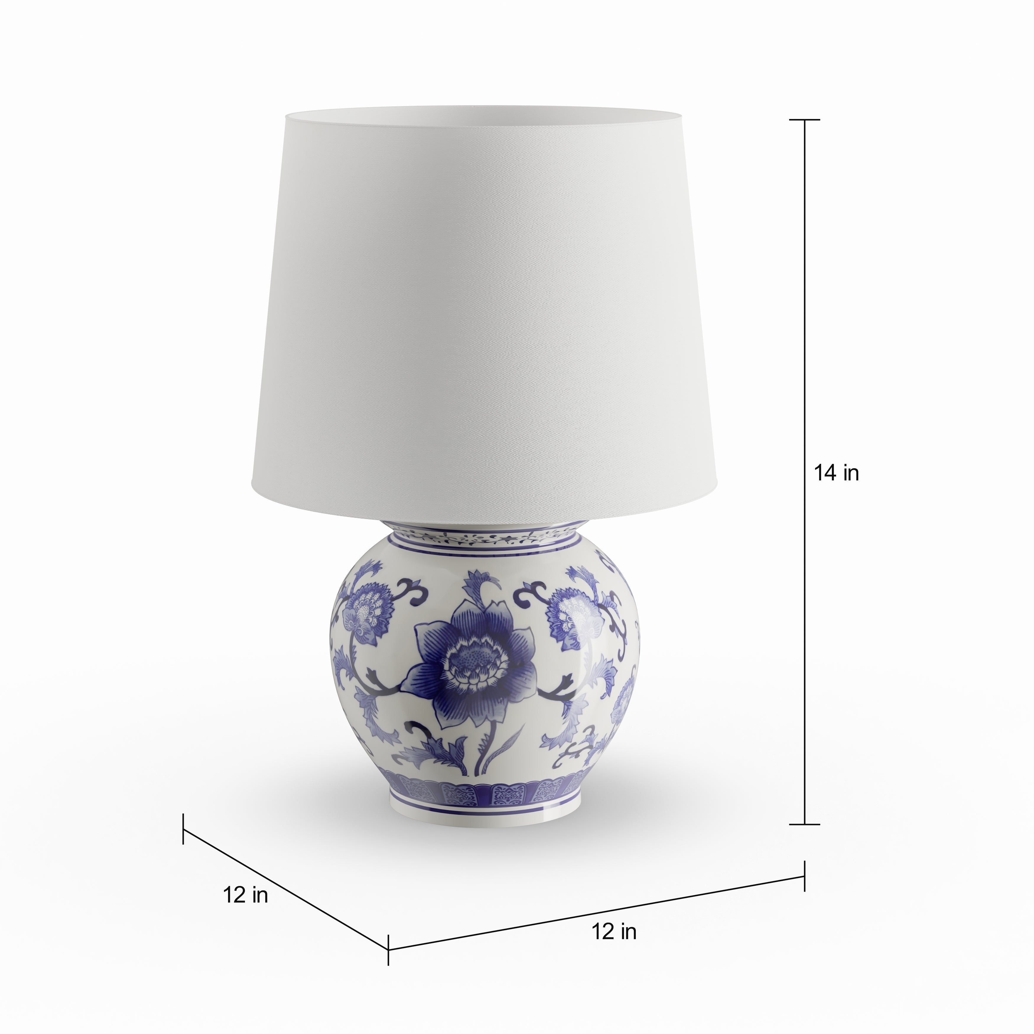 Shop Copper Grove Brightsand Blue White Ceramic Table Lamp On