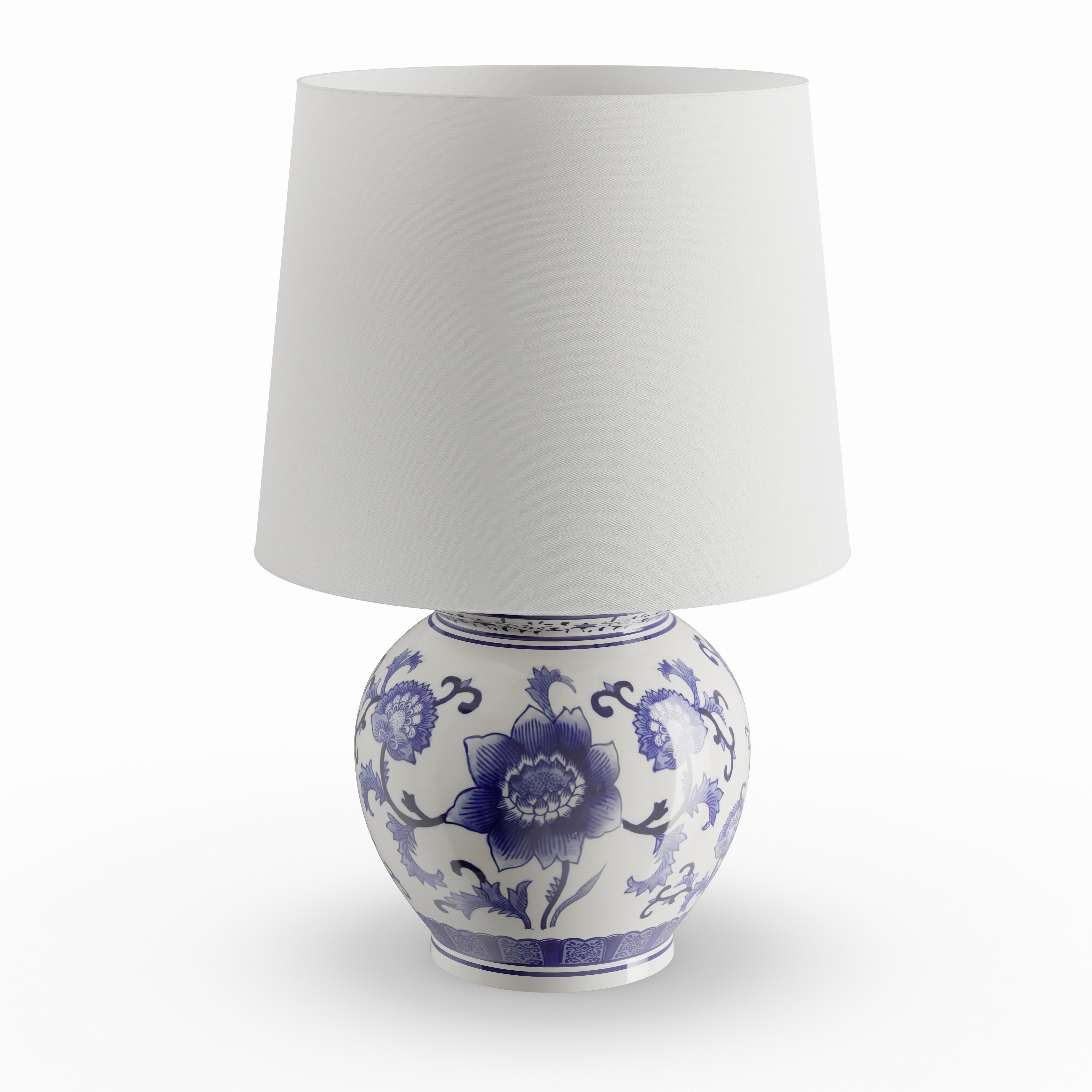 Shop Copper Grove Brightsand Blue White Ceramic Table Lamp Free