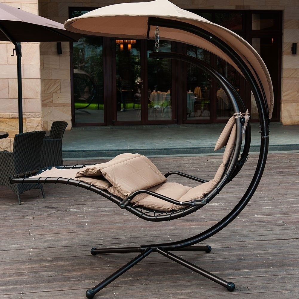 Shop SunLife Porch Swing Patio Hanging Chaise Sling Hammock Lounger Chair  With Arc Stand, Canopy, Cushion(Beige)   Free Shipping Today    Overstock.com   ...