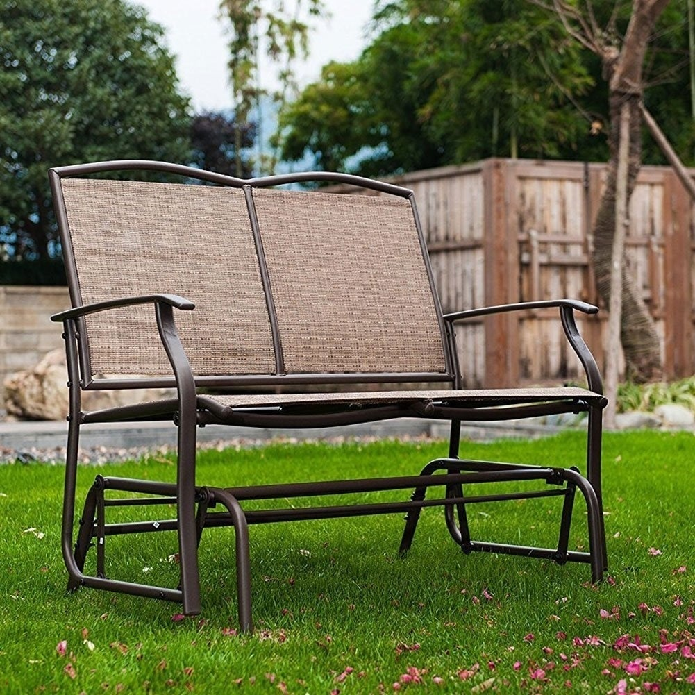 SunLife Outdoor Indoor Glider Loveseat Set Rattan Resin Wicker Patio Bench  Furniture Double For 2 Person   Free Shipping Today   Overstock   26240040