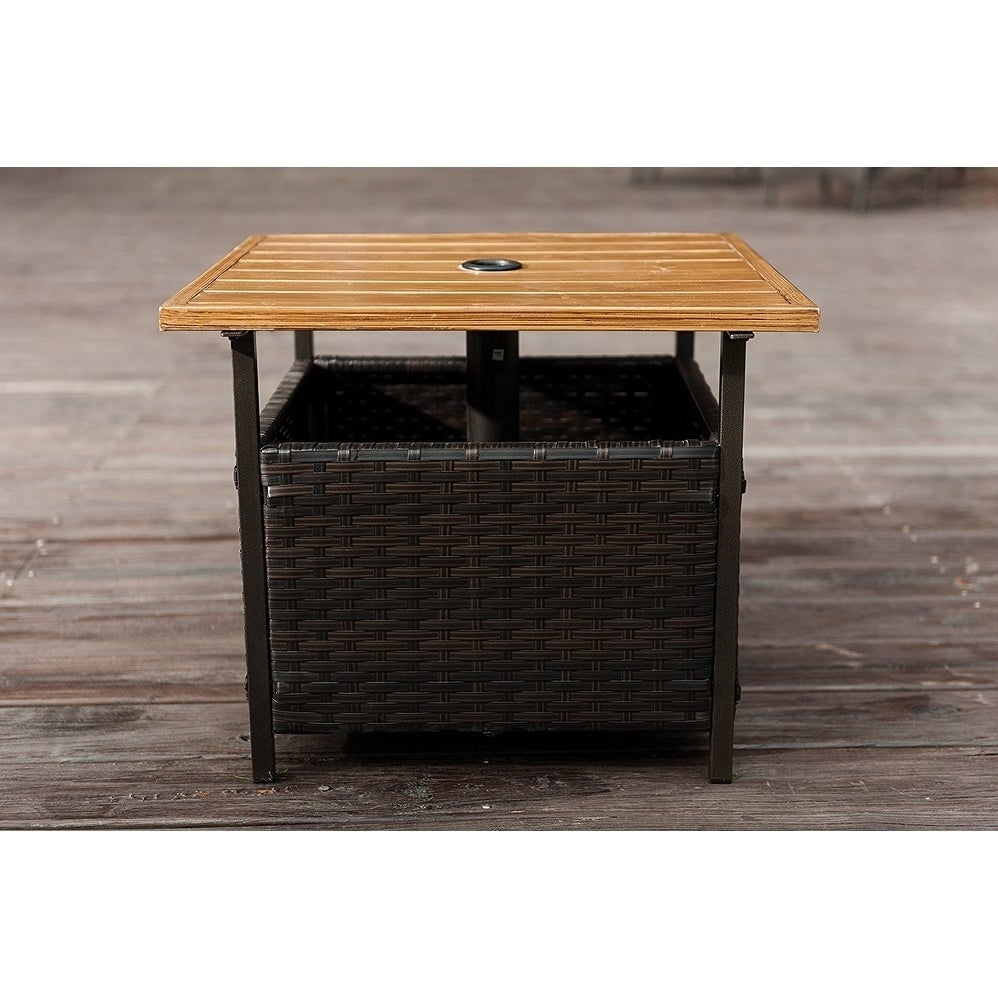 Shop SunLife Outdoor Patio PE Rattan Wicker Bistro Table Base Stand With  Umbrella Hole In Garden   Free Shipping Today   Overstock.com   20370905
