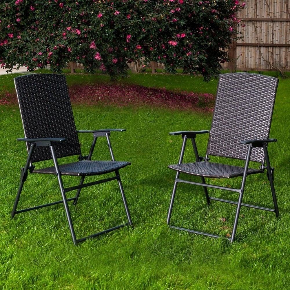 Sunlife Folding Resin Wicker Rattan Chairs Patio Indoor Modern Garden Furniture Set 2 Pairs Dark Brown Free Shipping Today