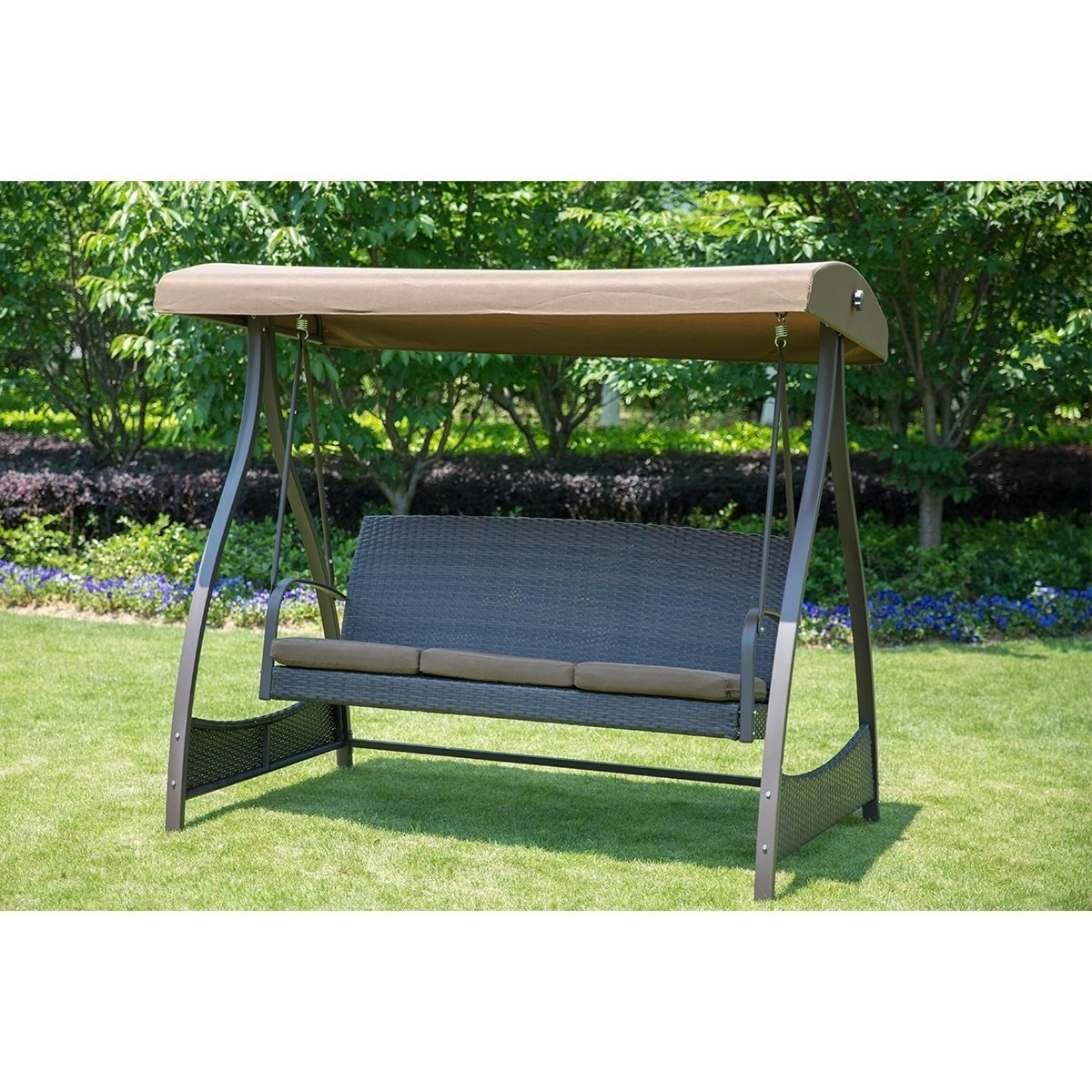 Sunlife Porch Lawn Glider Swing 3 Seat Hammock Chair With Arc Stand Steel Frame Garden Canopy Lounger Free Shipping Today 20370913