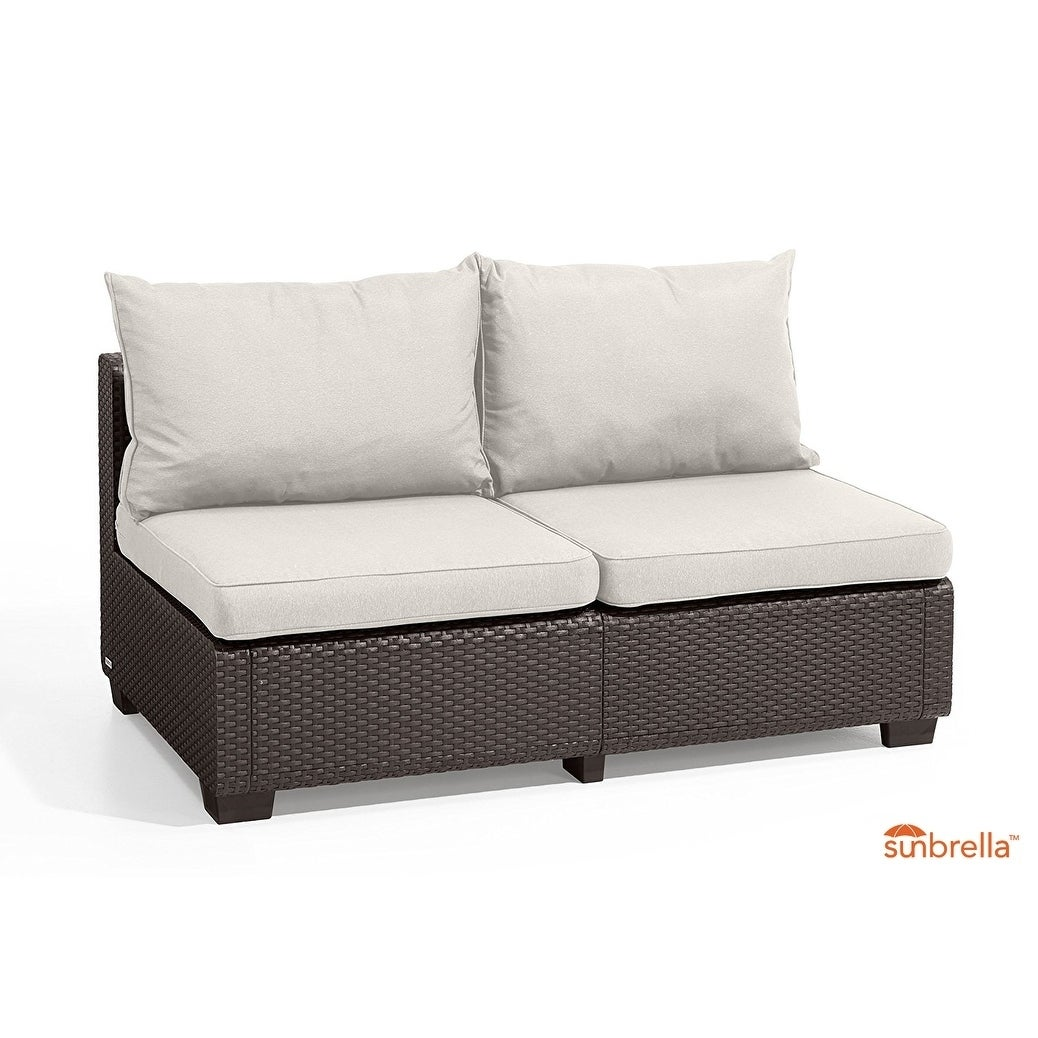 Shop Keter Sapporo All Weather Outdoor Patio Loveseat With Sunbrella  Cushions   Free Shipping Today   Overstock.com   20377772