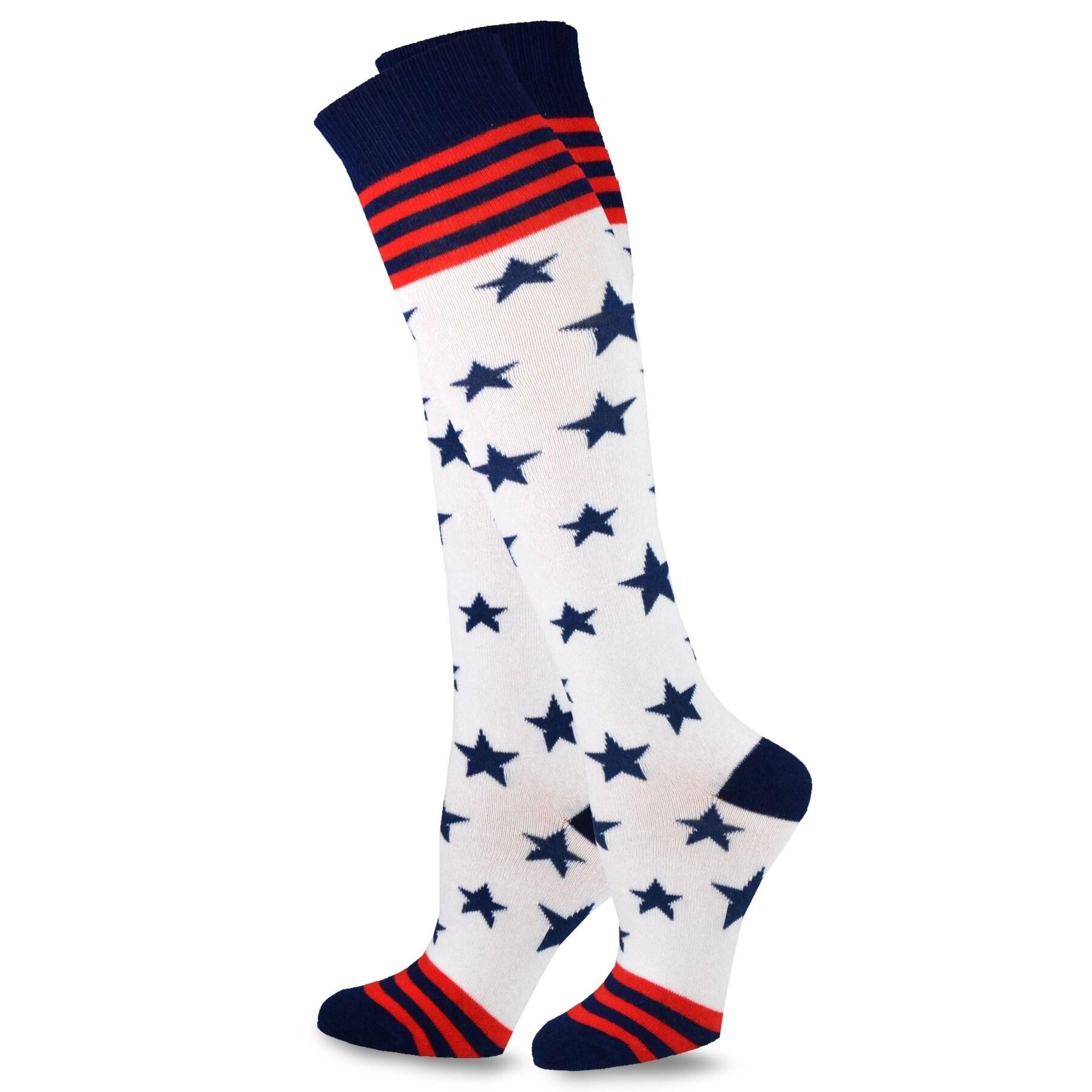 50a8d463bf TeeHee American Flag Women's Knee High Socks - Stars & Stripes 2-Pack